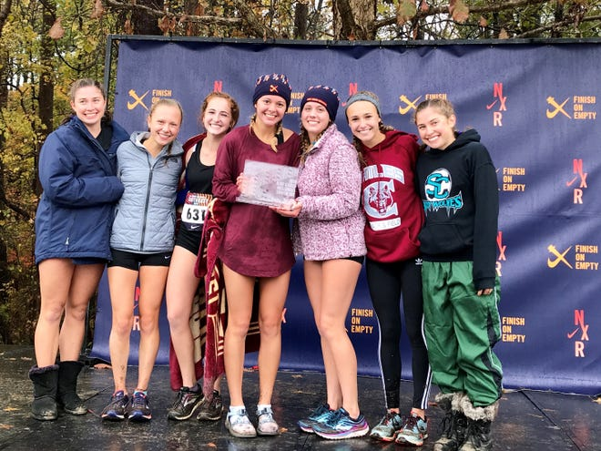 Chiles' girls cross country team continued its unbeaten since by winning a Nike Cross Regionals Southeast title on Saturday, Nov. 24, 2018, at Wake Med Soccer Park in Cary, N.C. The Timberwolves also captured their second straight Class 3A state title three weeks ago. From left: Megan Churchill, Abby Schrobilgen, Emily Culley, Olivia Miller, Caitlin Wilkey, Lindsay James, Alyson Churchill.
