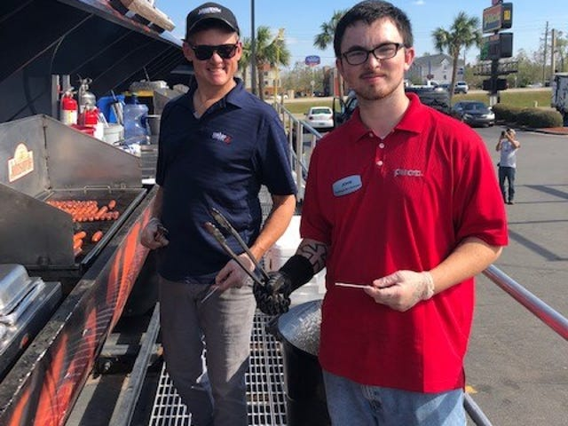 The Johnsonville grill can cook up to 750 brats at a time.