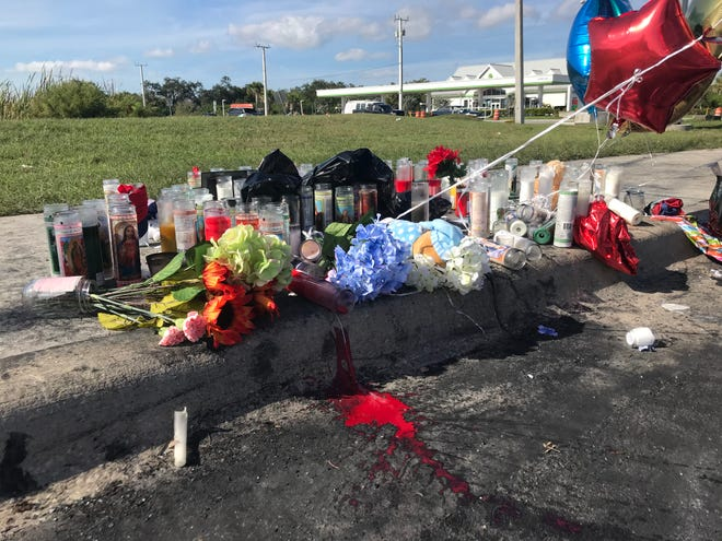 A roadside memorial is seen Nov. 25, 2018, after a crash Nov. 23 resulted in the deaths of five people at Midway Road and South 25th Street near Fort Pierce.