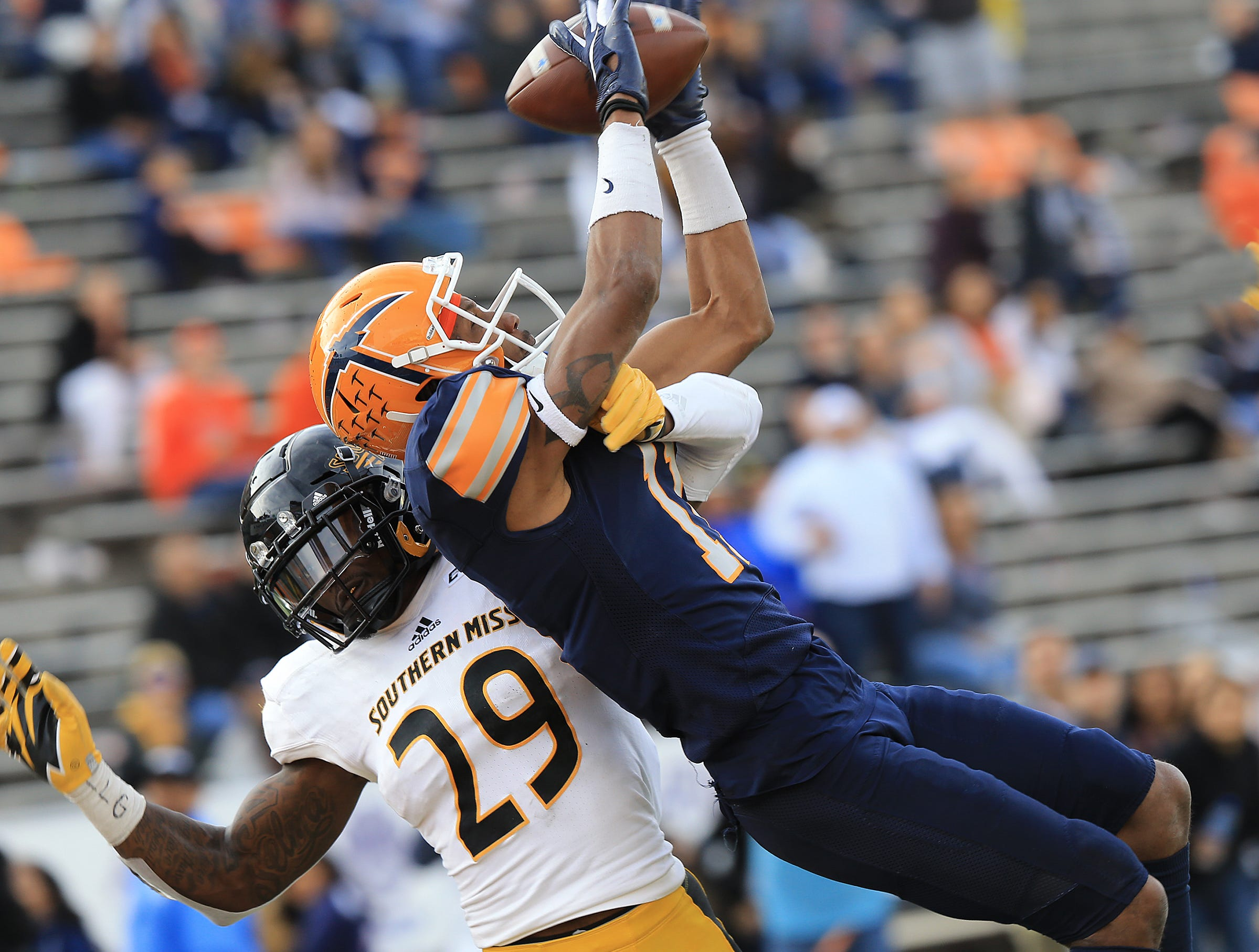 UTEP ended its season with a 39-7 loss to Southern Miss at Sun Bowl Stadium. UTEP seniors were joined by their families on the field prior to the game and were treated to a senior video following the game.