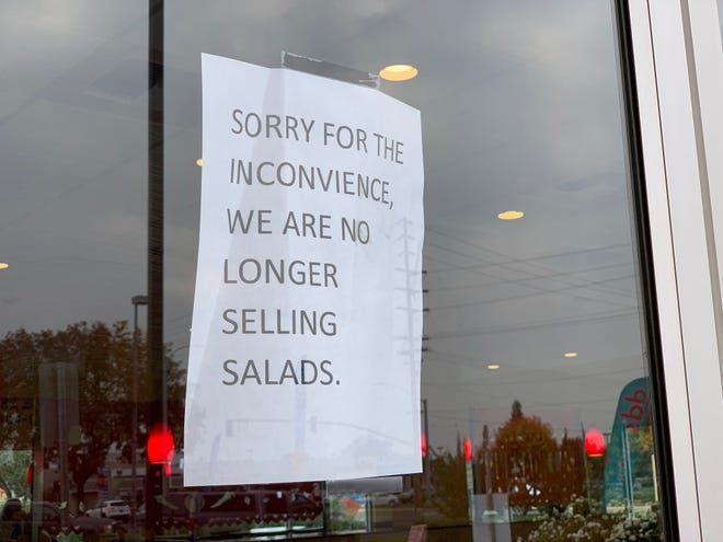 In response to an E. coli breakout earlier this week, local restaurants are not serving salads.
