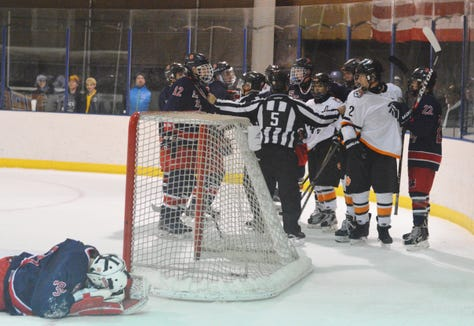 An incidental pileup in the second period left Stepinac goalie Chris Spano momentarily down on the ice and inspired a brief tussle. Spano stayed in the game and the incident did not escalate above pushing and shoving.