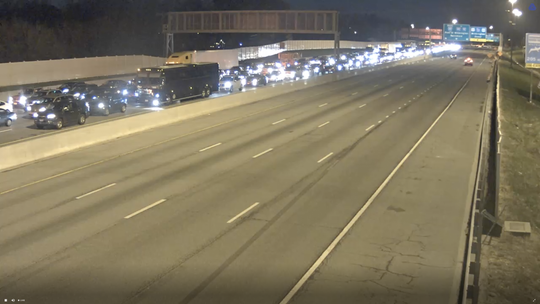 Traffic backed up on Interstate 295 entering Delaware, exiting the Delaware Memorial Bridge. Both north and south lanes of the bridge were closed after reports of a gas leak at a building in New Castle.