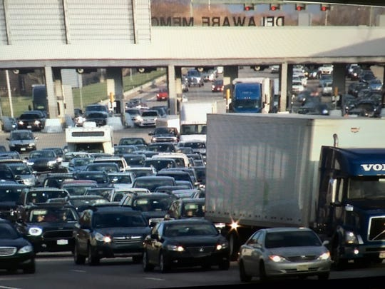 Both directions of Delaware Memorial Bridge Sunday after reports of a gas leak from a building on Cherry Lane in New Castle Sunday evening.