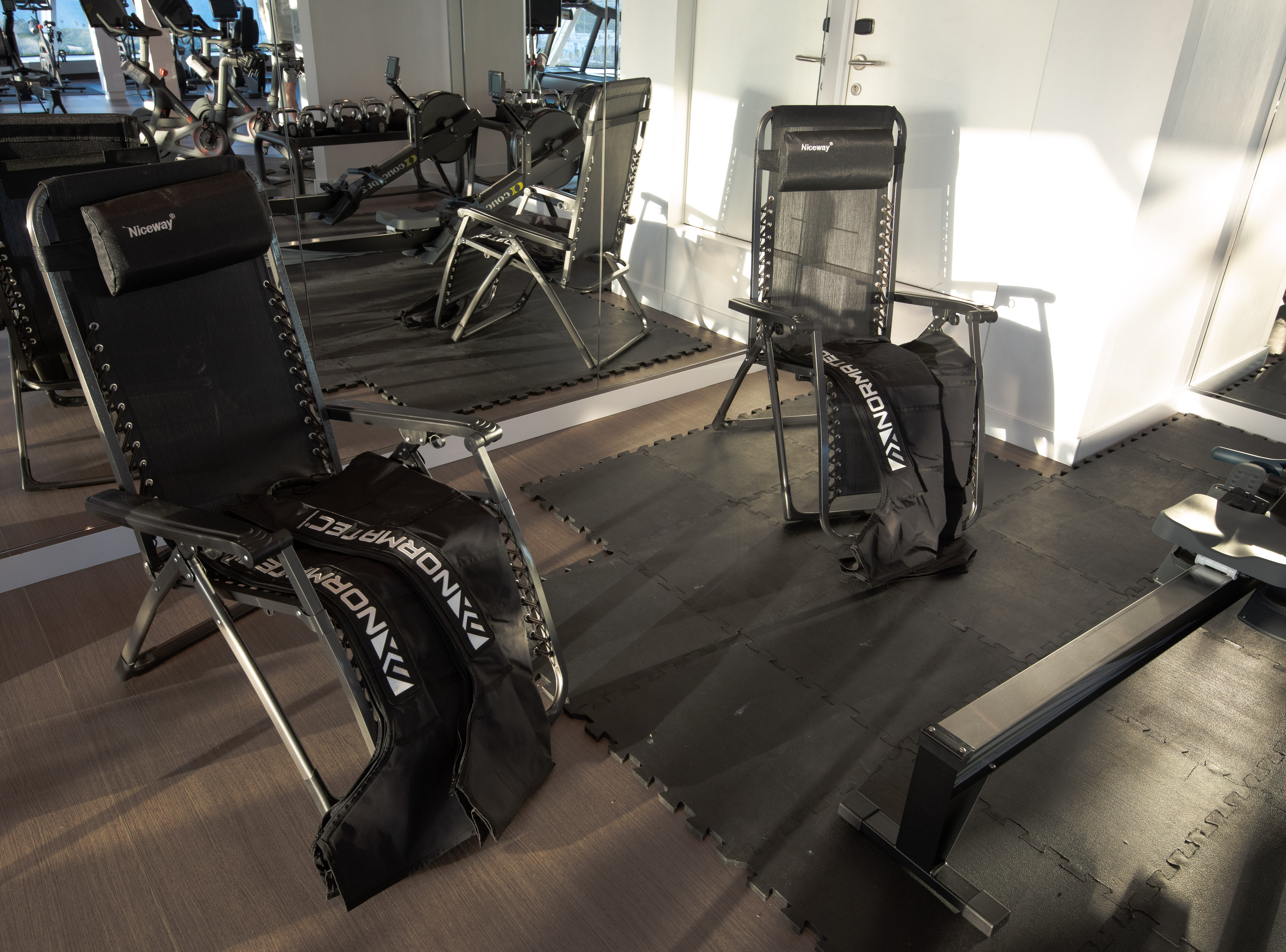 The Fitness Center offers two NormaTec recovery chairs.