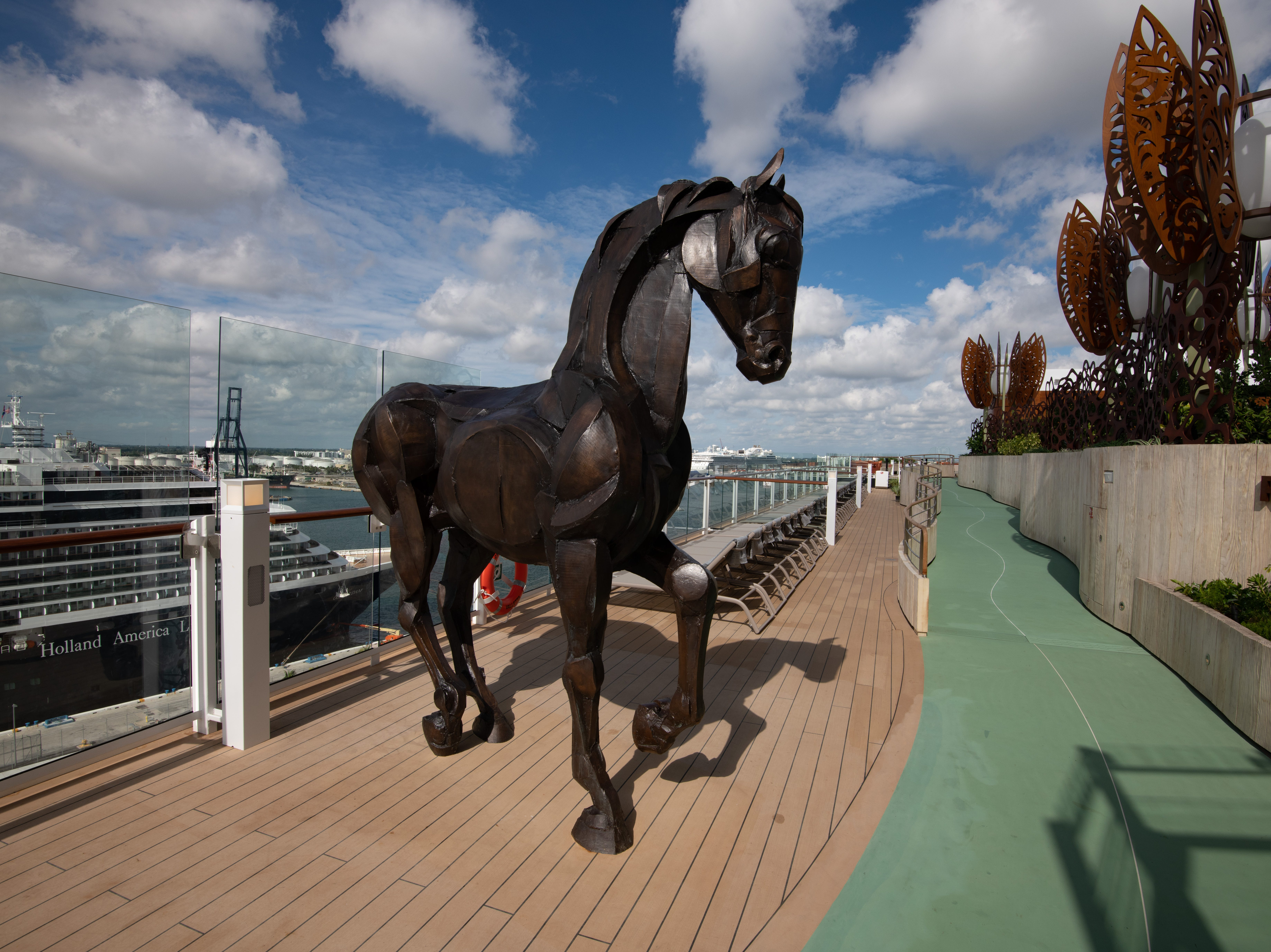 A sculpture of a horse stands guard just outside the Rooftop Garden.