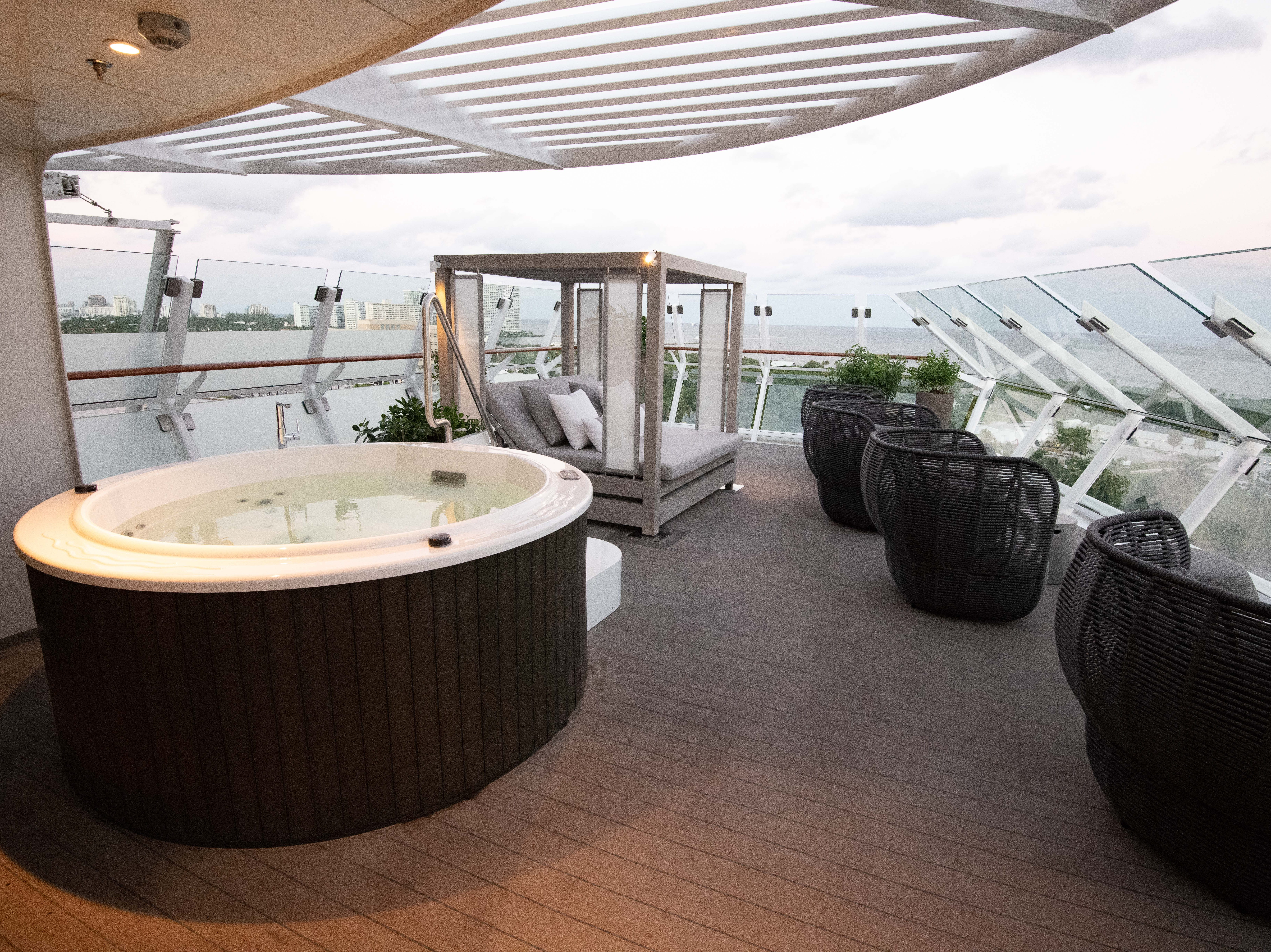 Each of the two Iconic Suites on Celebrity Edge features a large balcony built over one of the bridge wings of the ship.