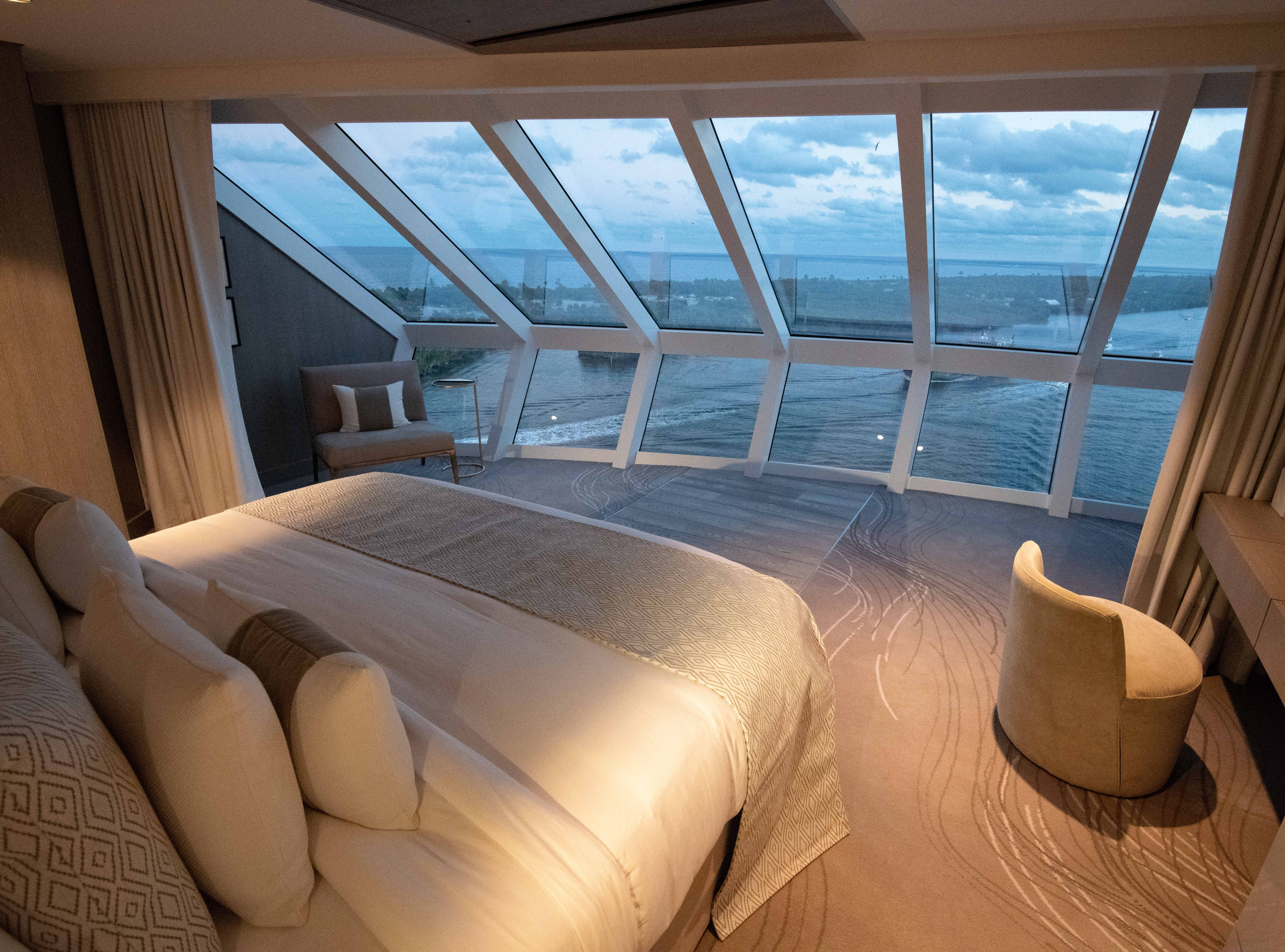 The Iconic Suites on Celebrity Edge are located above the bridge of the ship where the captain resides and offer breathtaking views through floor-to-ceiling panoramic glass. Each of the suites has two bedrooms, a dining room, living room and expansive outdoor balcony area.