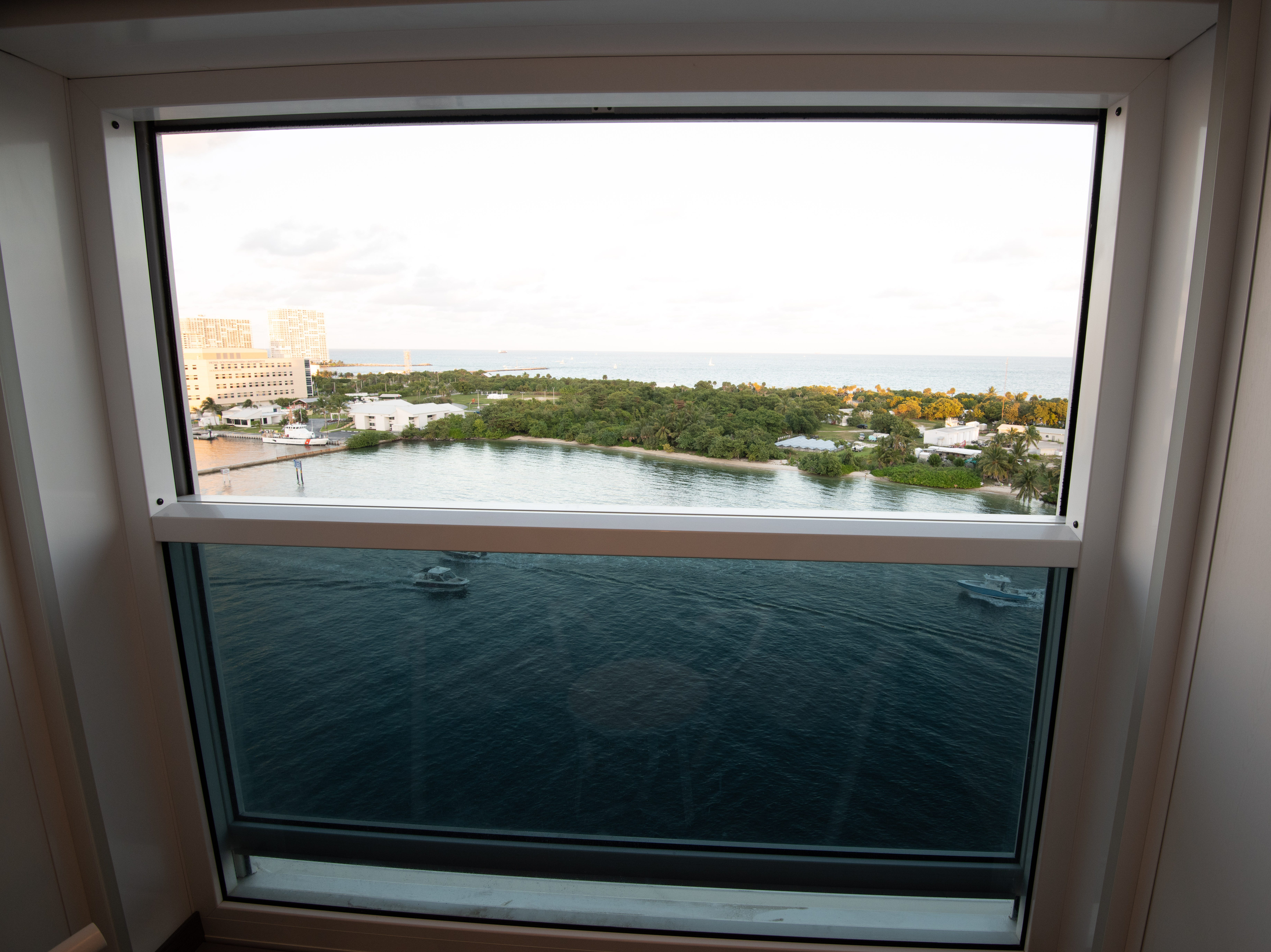 The top half of the glass wall at the end of Edge Stateroom with Infinite Veranda cabins can be lowered to create a balcony feel. The same technology has been used by several river cruise lines including Scenic Cruises.