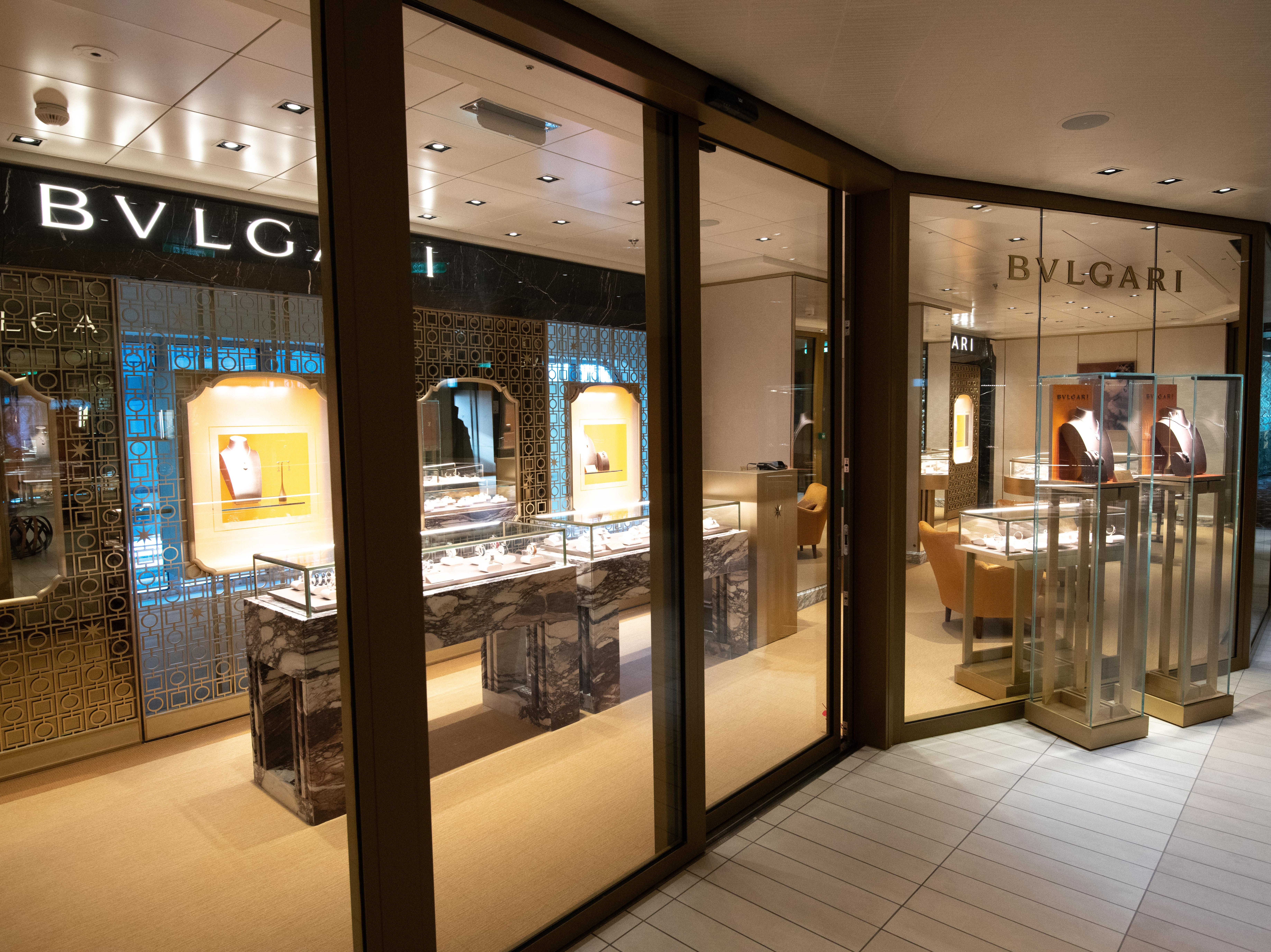 A Bvlgari store is among the high-end retail outlets on Celebrity Edge.