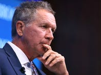 Gov. John Kasich participates in a discussion with Colorado Gov. John Hickenlooper as part of the Brookings Institution's Middle Class Initiative Oct. 10, 2018 in Washington.