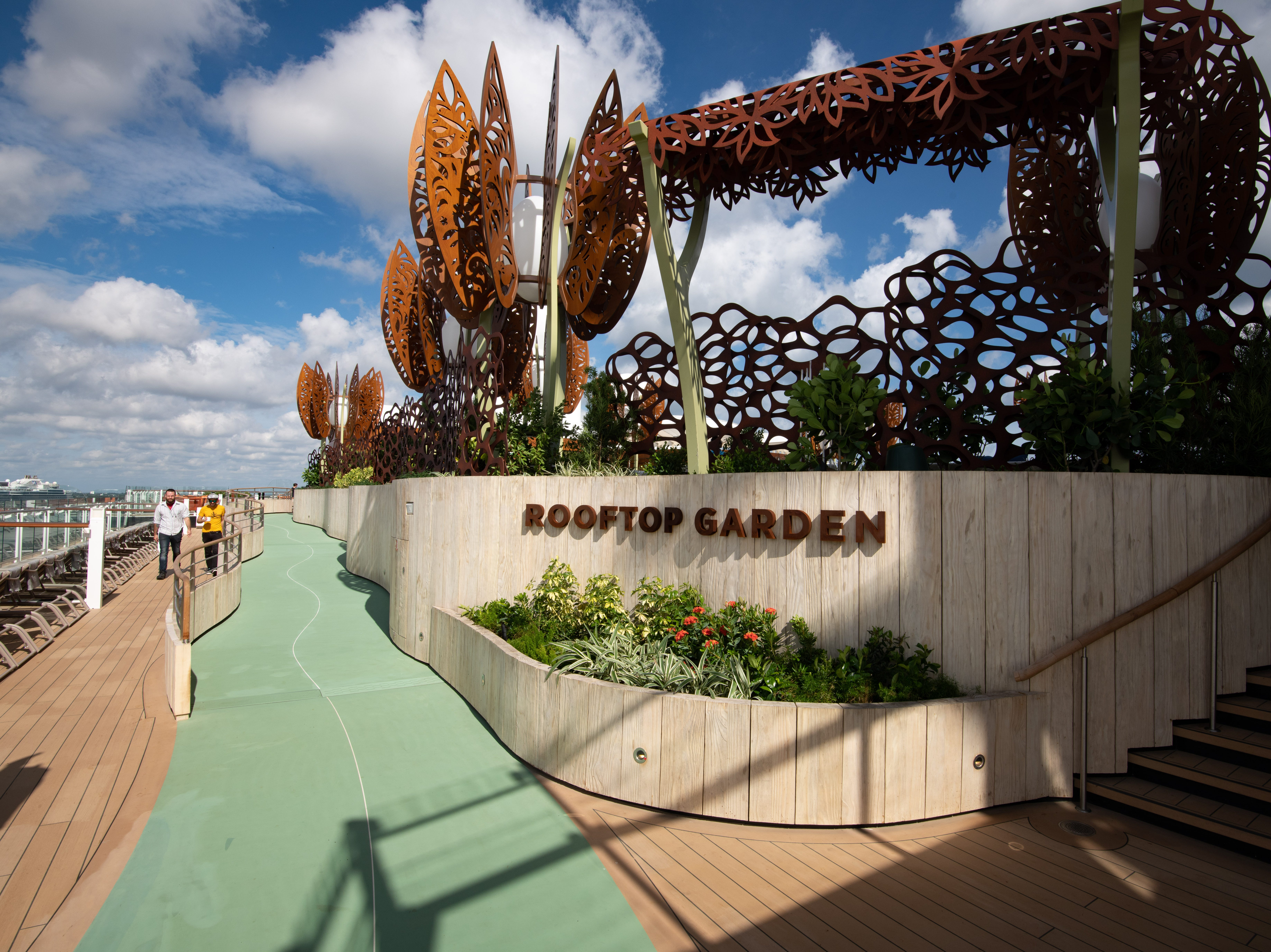 Another unusual feature of Celebrity Edge is its Rooftop Garden. It's a plant-filled playscape that Celebrity says was inspired by childhood playgrounds and 'designed to awaken the inner-child in everyone.'