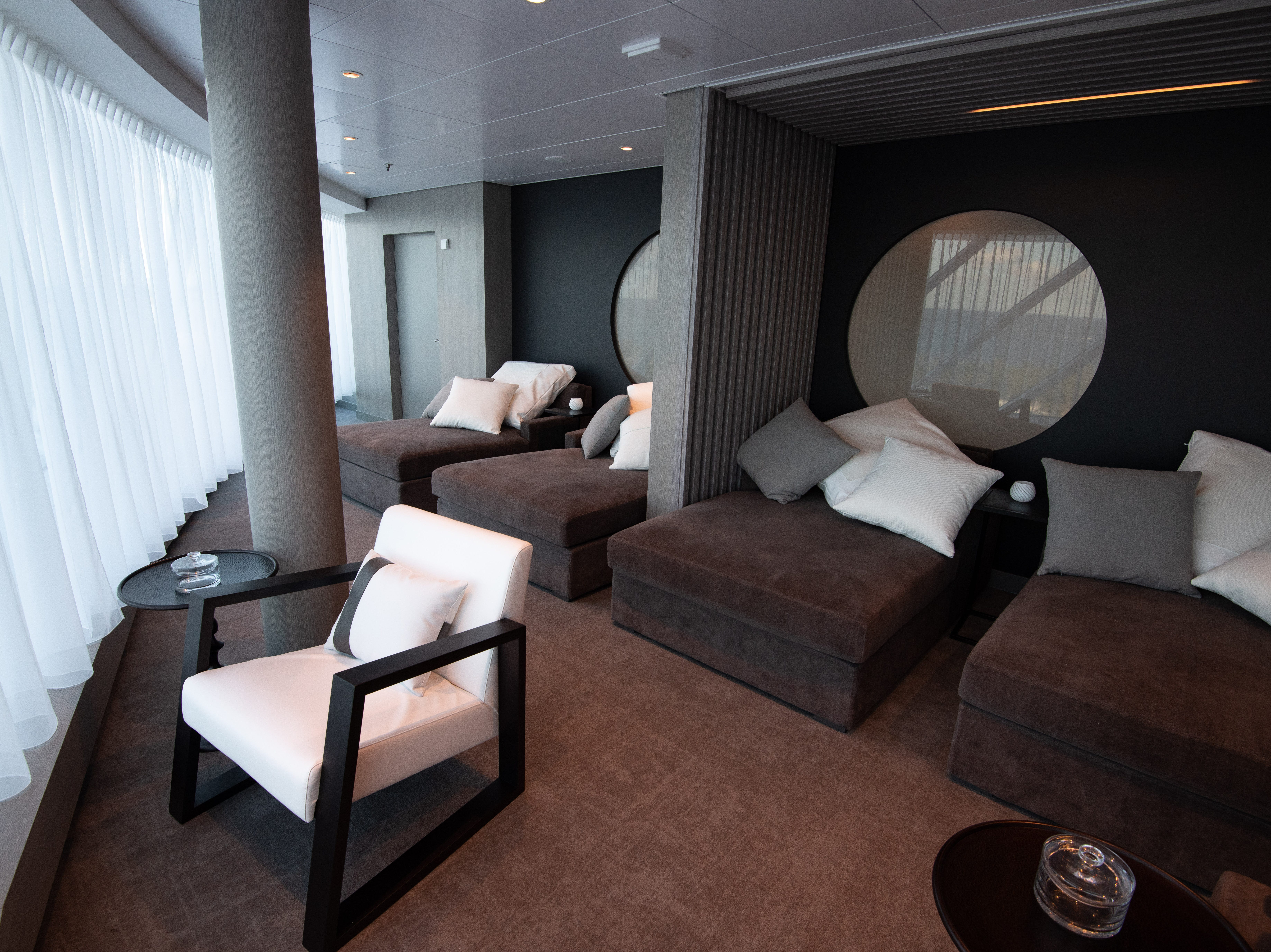 A relaxation lounge at The Spa on Celebrity Edge.