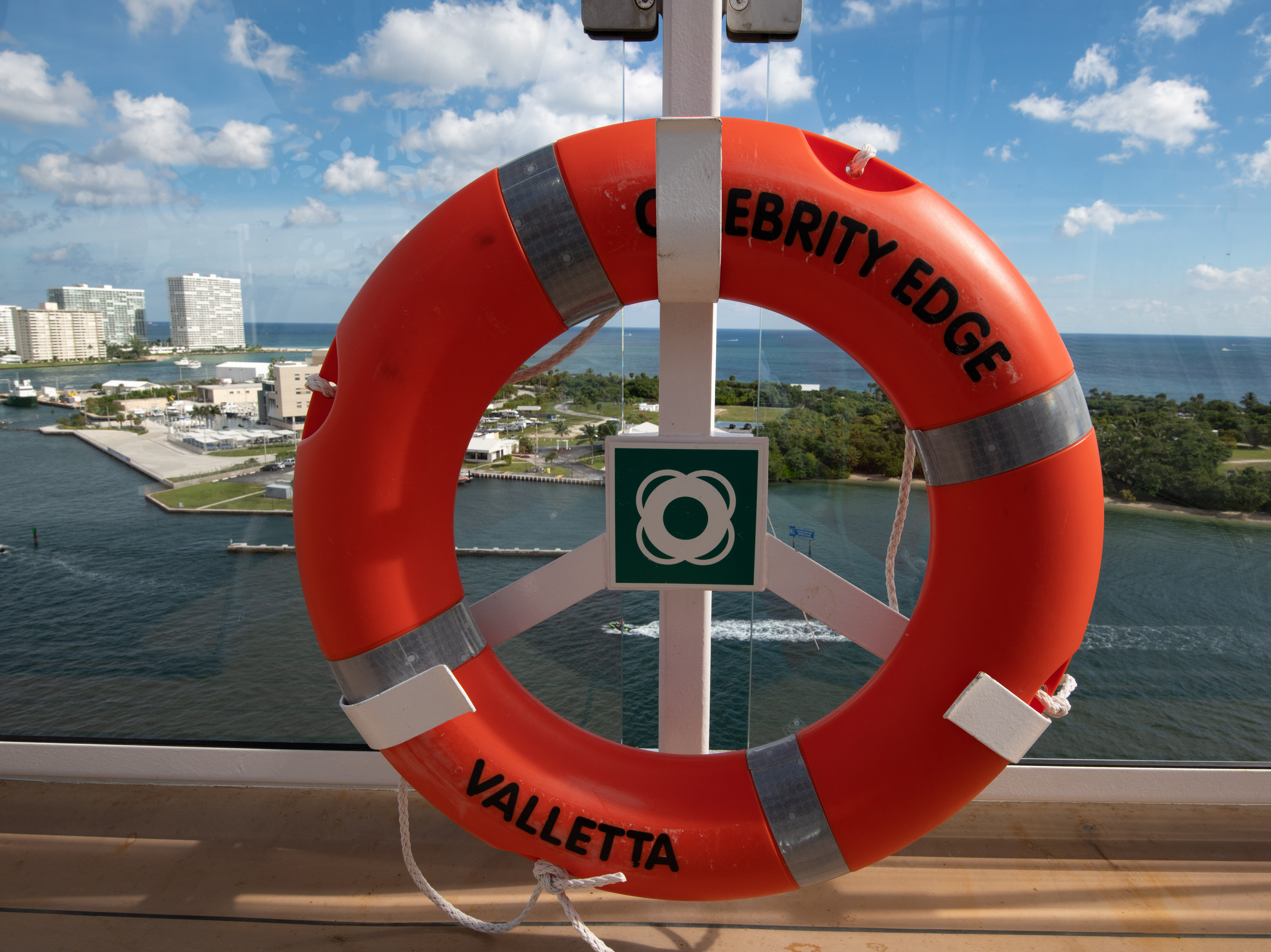 A buoy stands at the ready on one of the top decks of Celebrity Edge.