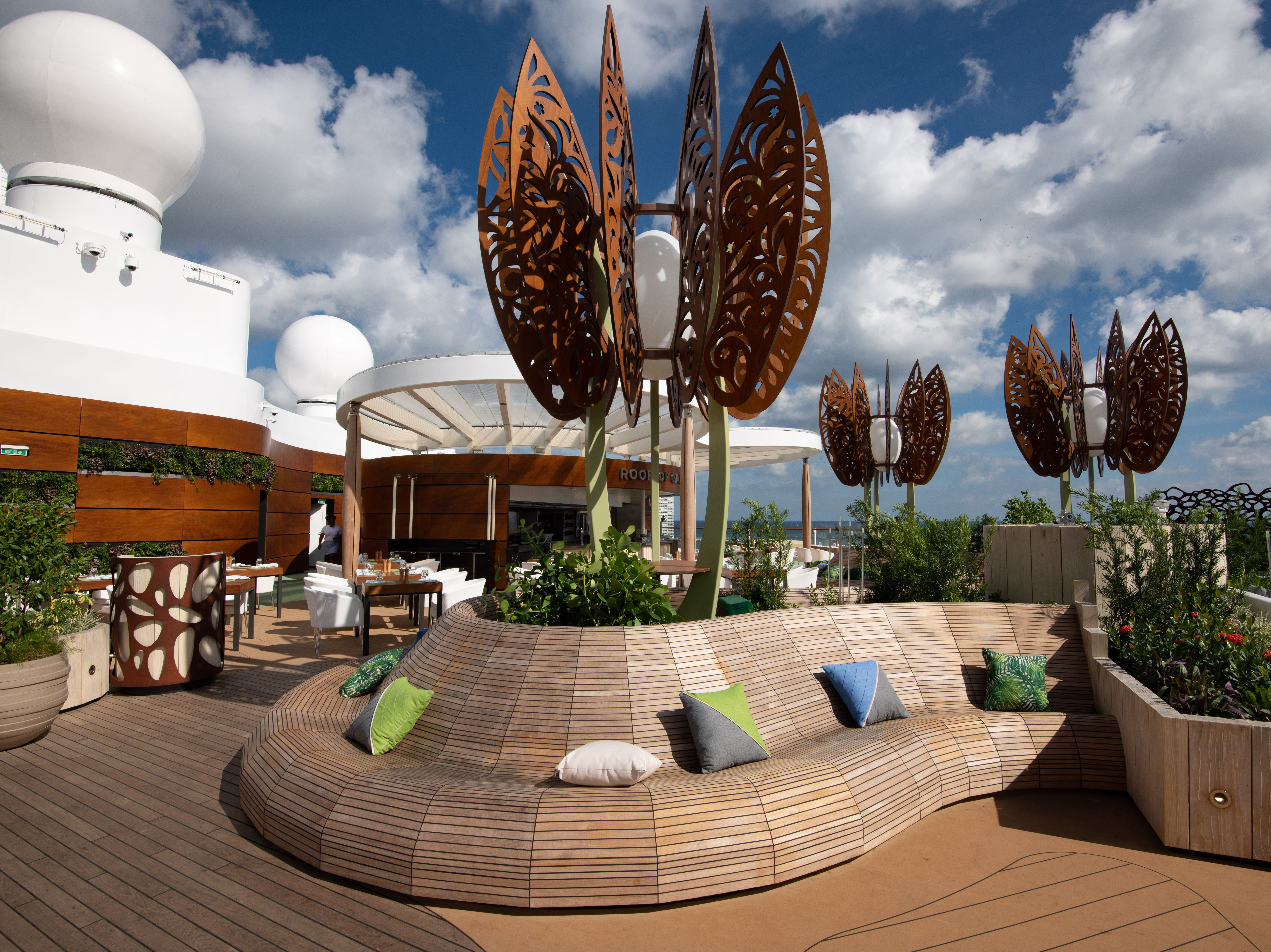 The Rooftop Garden offers park-like seating areas as well as interactive