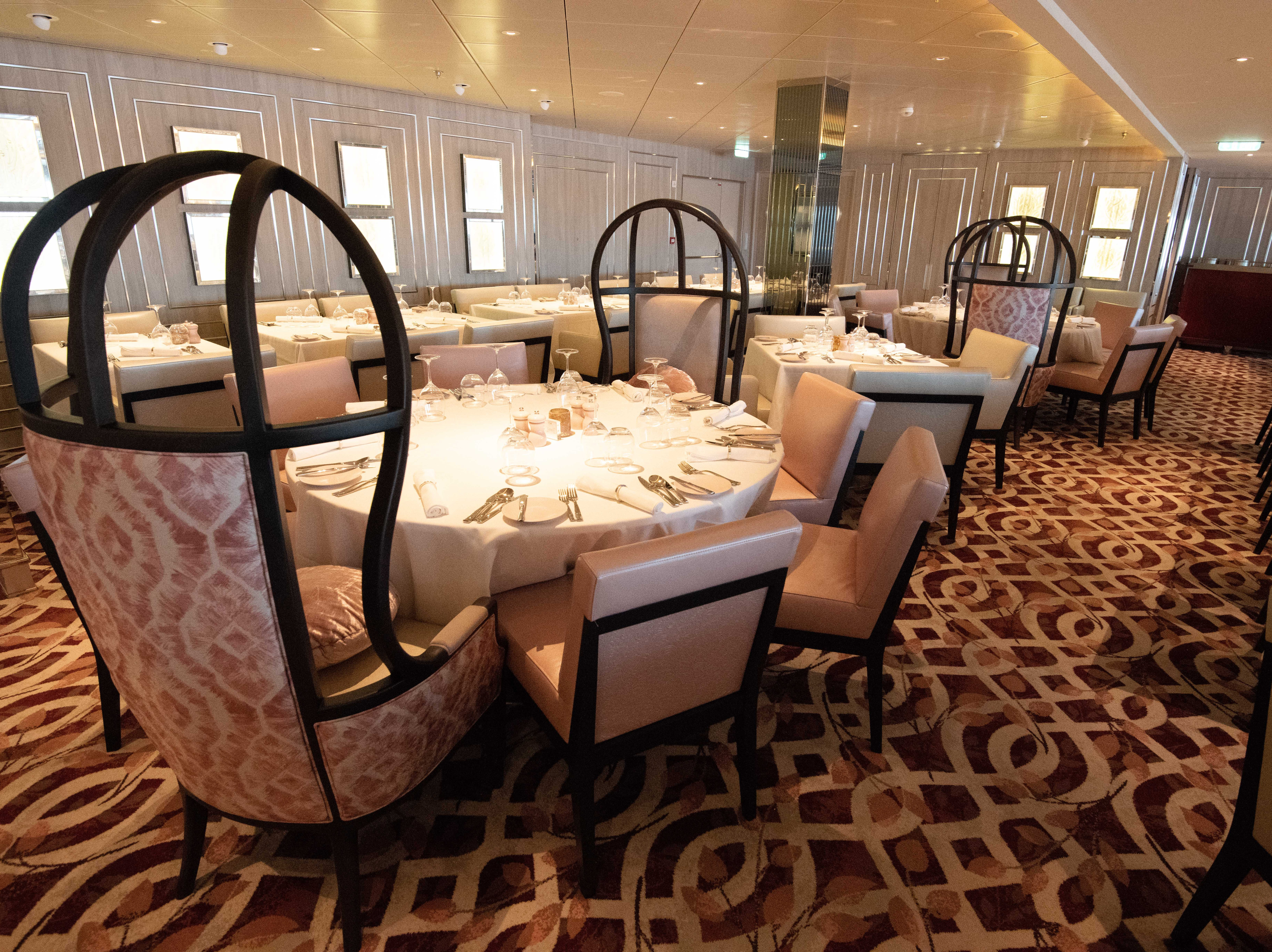 Normandie Restaurant also features wooden panels that were taken from the Celebrity Summit.
