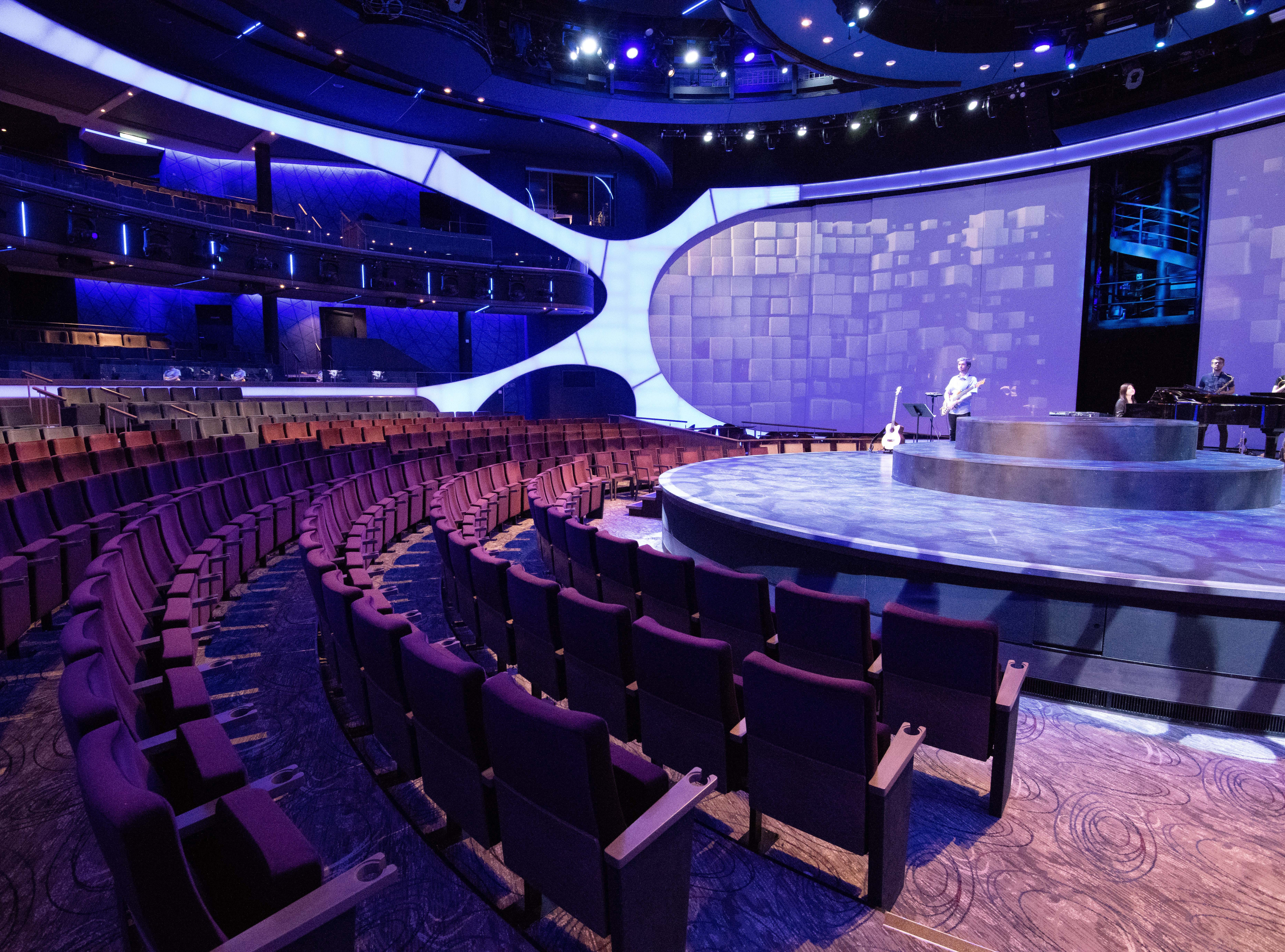 Celebrity Edge's main showroom, The Theatre, is an innovative space with a stage that thrusts forward into the audience area creating a theater-in-the-round sensation.