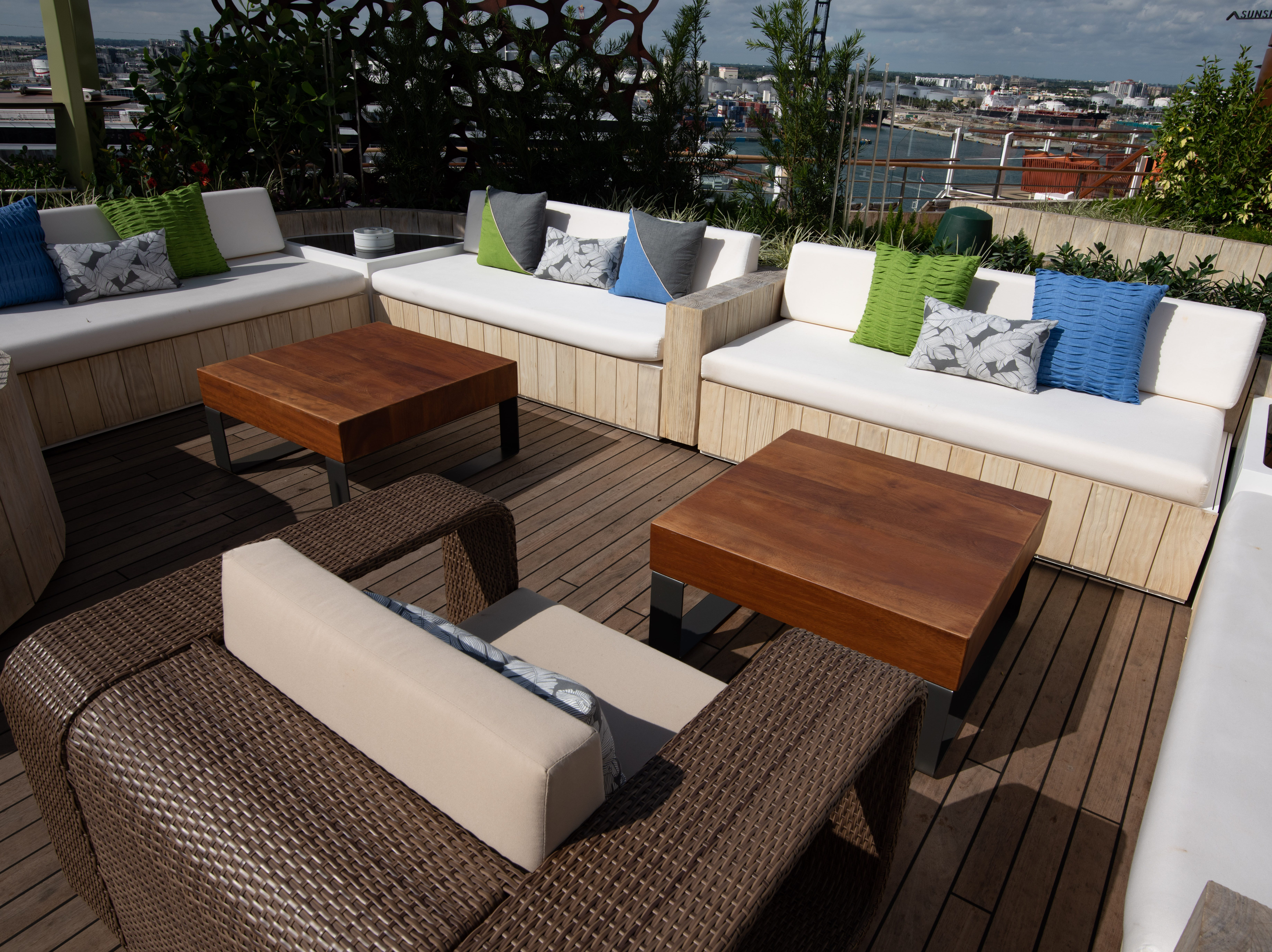 A seating area at the Rooftop Garden.