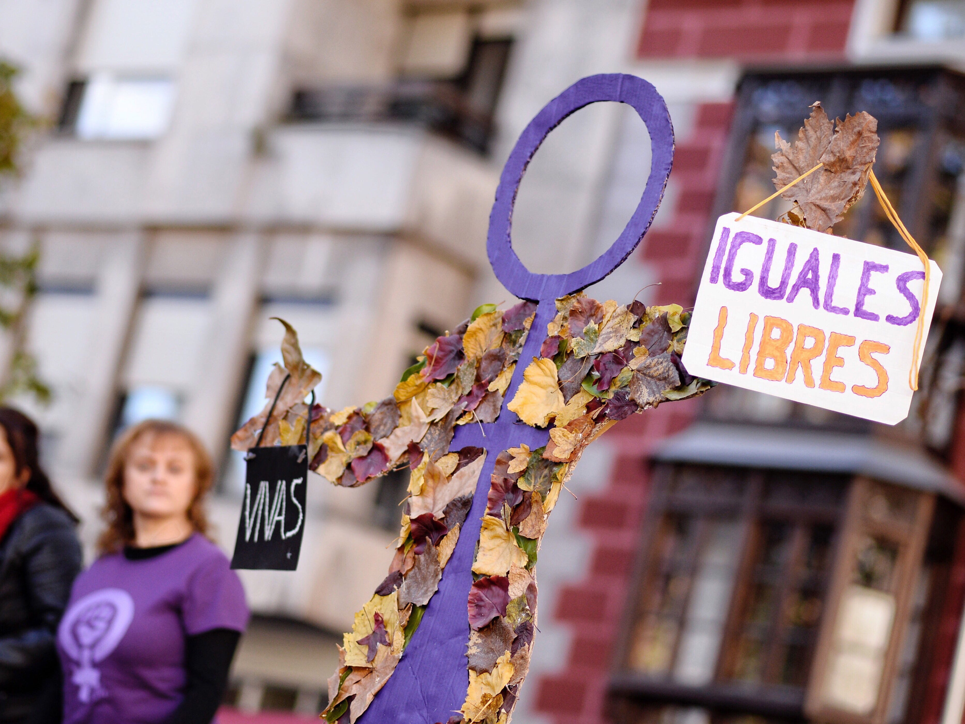 "A venus symbol is seen with the words ""alive, equalm free"" during a demonstration held on occasion of the International Day for the Elimination of Violence Against Women in Valladolid, Spain, Nov. 25, 2018."