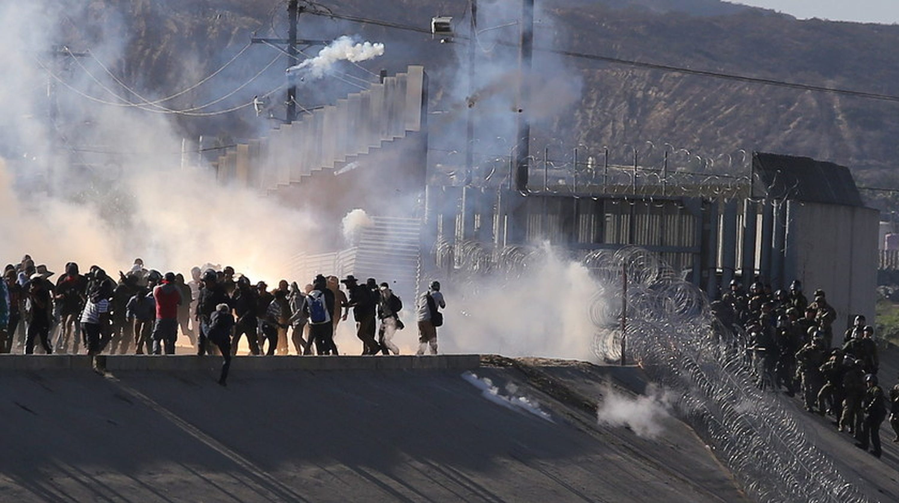 Image result for images of tear gas at border on Nov. 25, 2018