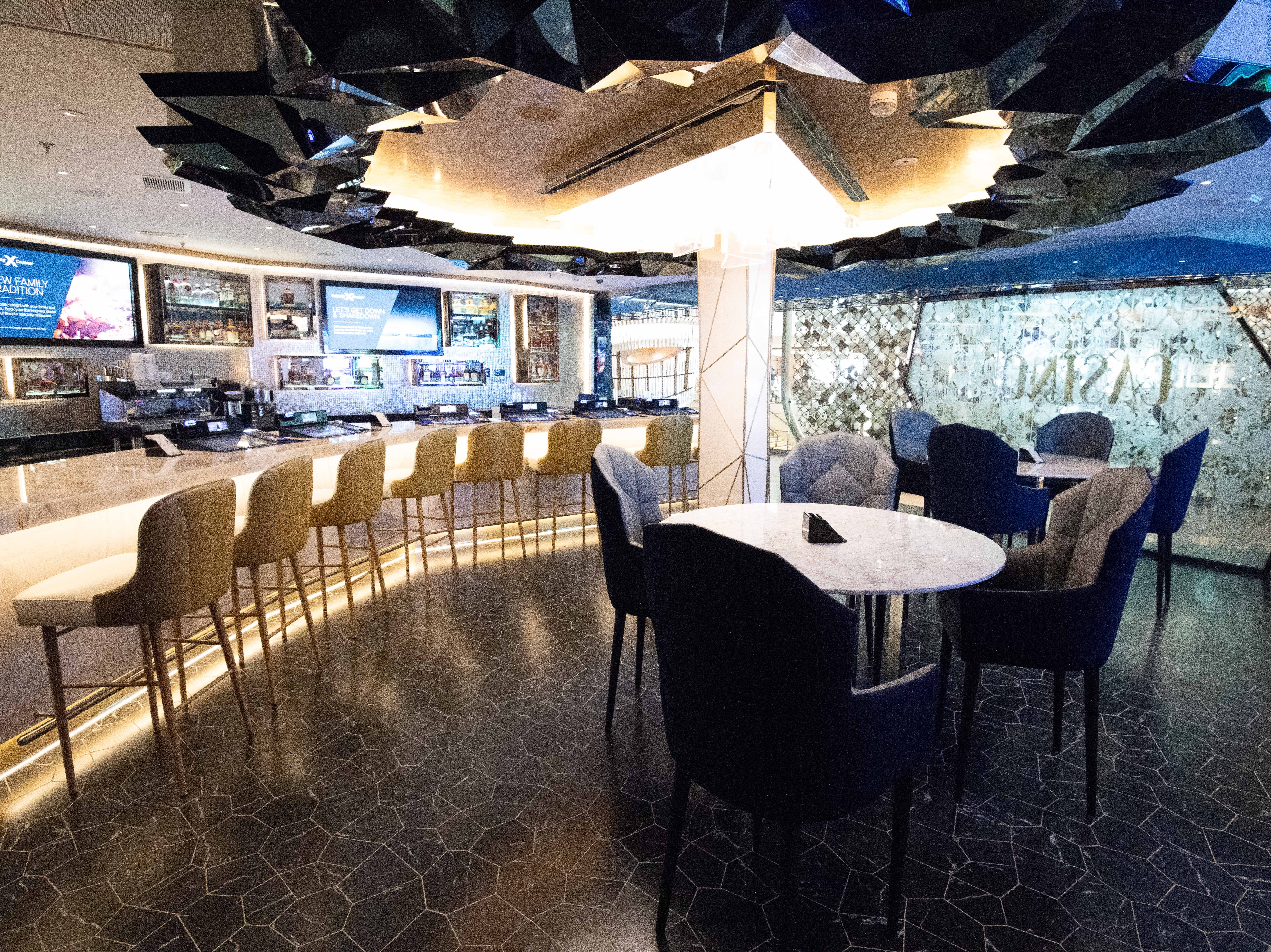 The Casino Bar, just off the main casino floor, is a sleek retreat.