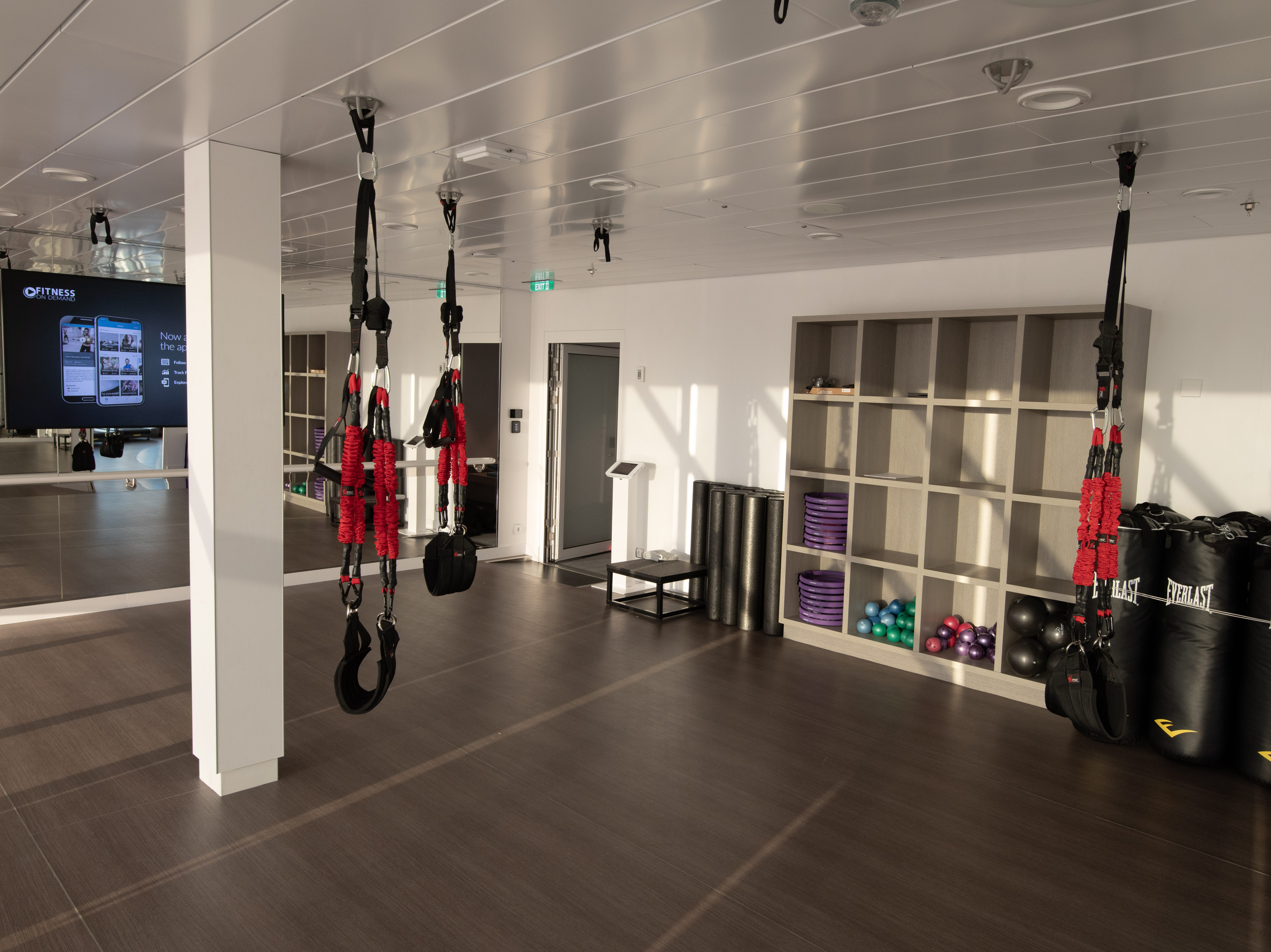The Fitness Center has two motion studios, one of which is outfitted with harnesses and punching bags.