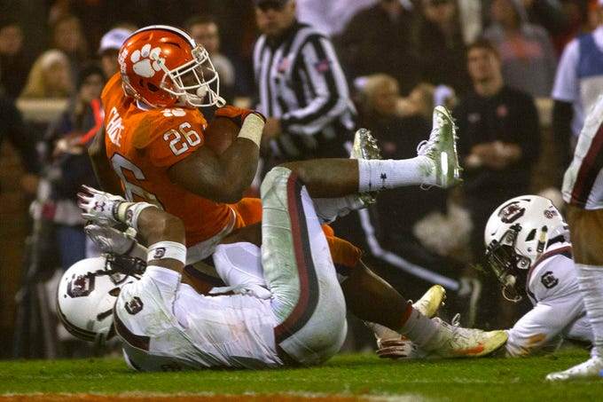 Clemson Tigers running back Adam Choice (26) scores a touchdown during the second half against the South Carolina Gamecocks.