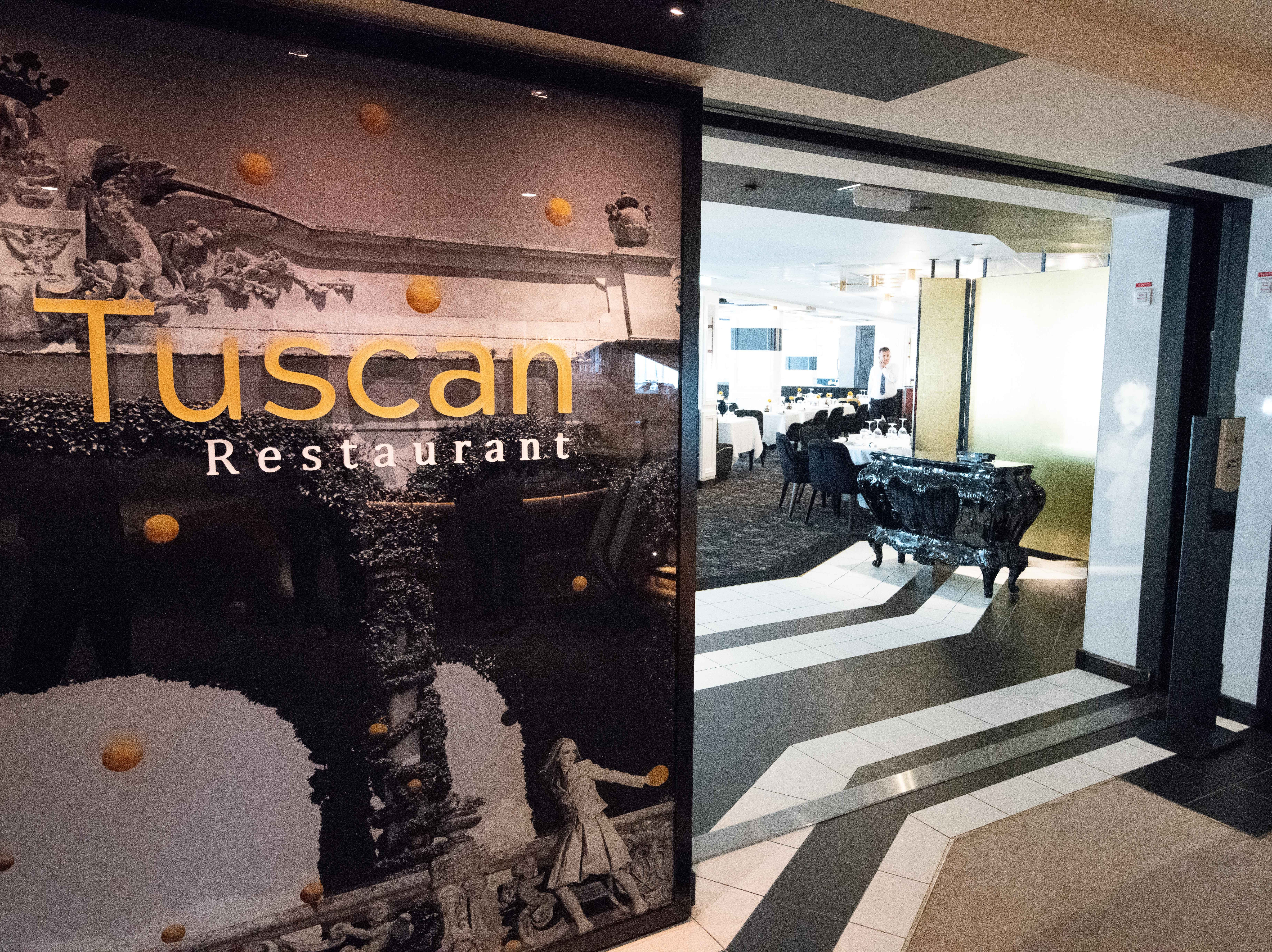 Unlike earlier Celebrity Cruises ships, Celebrity Edge doesn't have a single large main restaurant. Instead, it has four smaller main restaurants., each with a different name, decor and dishes. Among them is Tuscan Restaurant.
