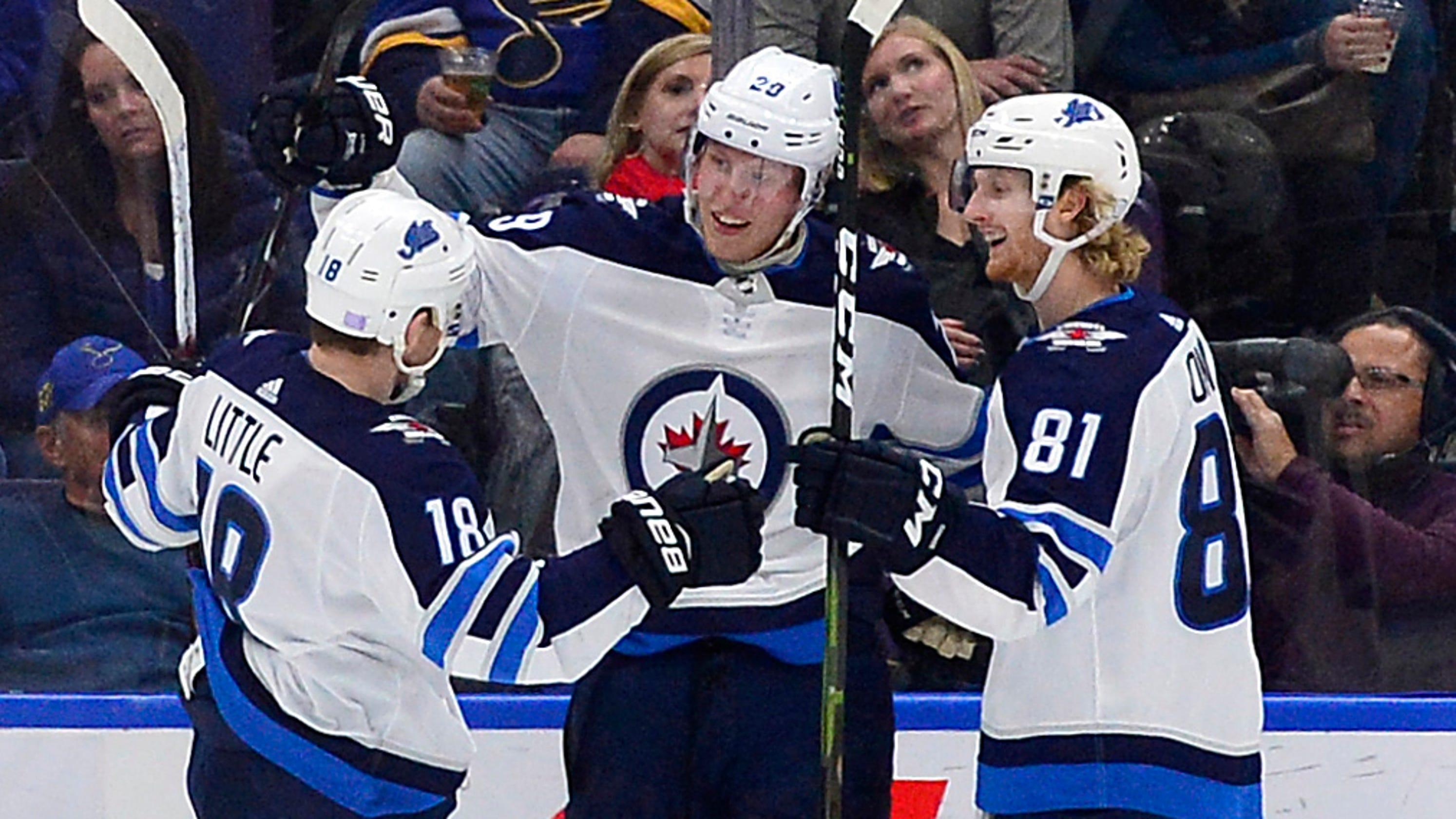 16bcb0d0d4a Winnipeg s Patrik Laine scores five goals on five shots against the Blues