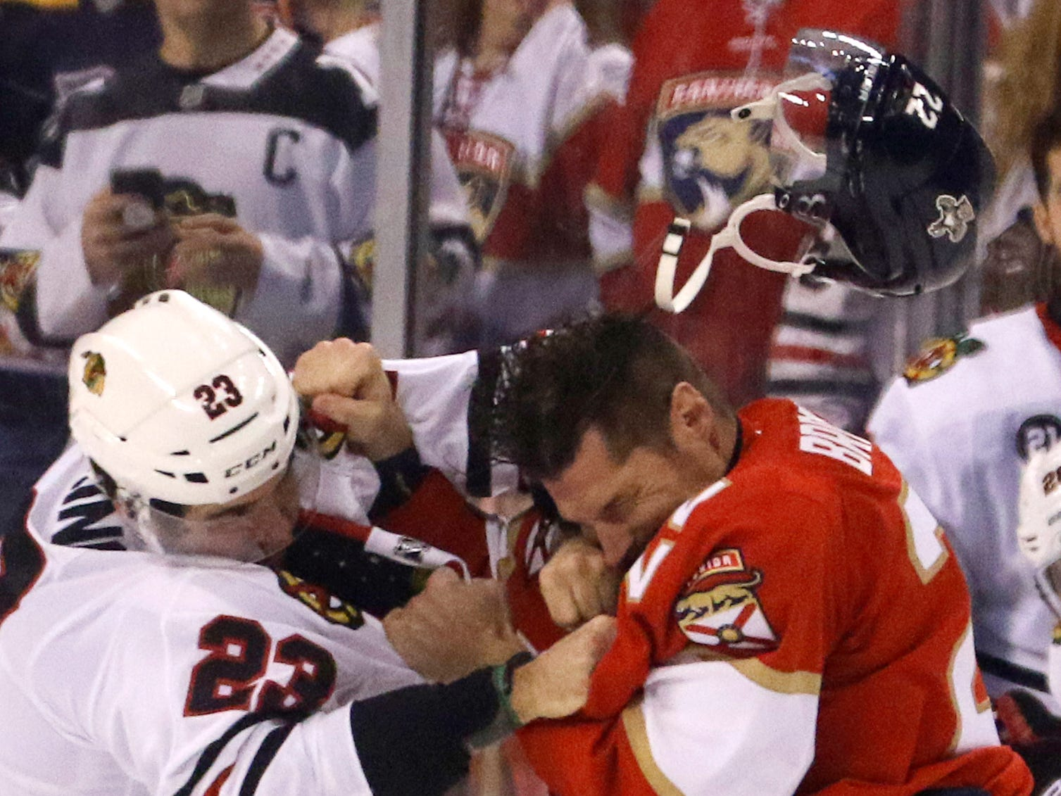 Nov. 25: Chicago Blackhawks' Brandon Manning vs. Florida Panthers' Troy Brouwer.