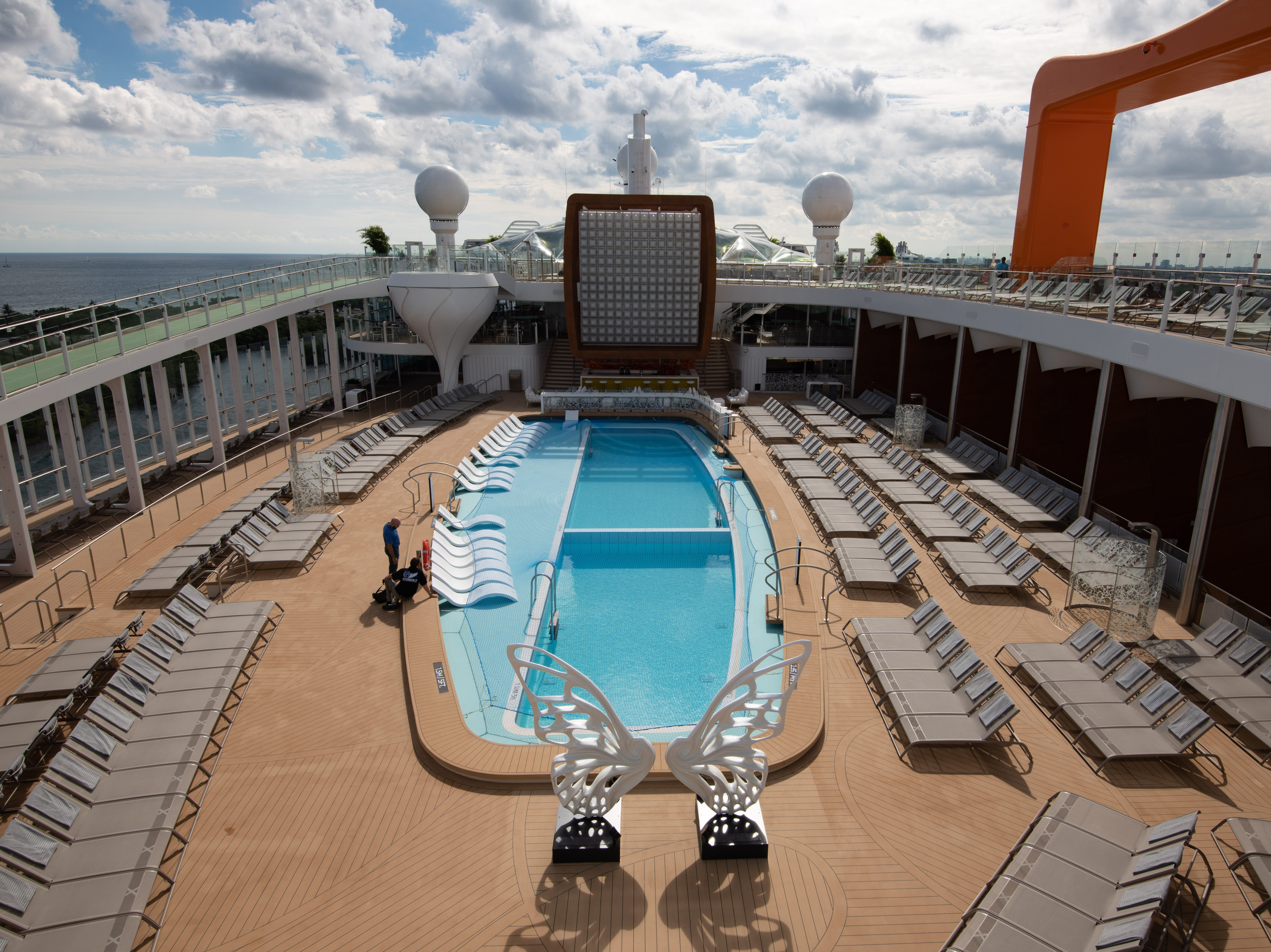 The focal point of the exterior decks of Celebrity Edge is its Pool Deck, which features a non-traditional, asymmetrical pool.