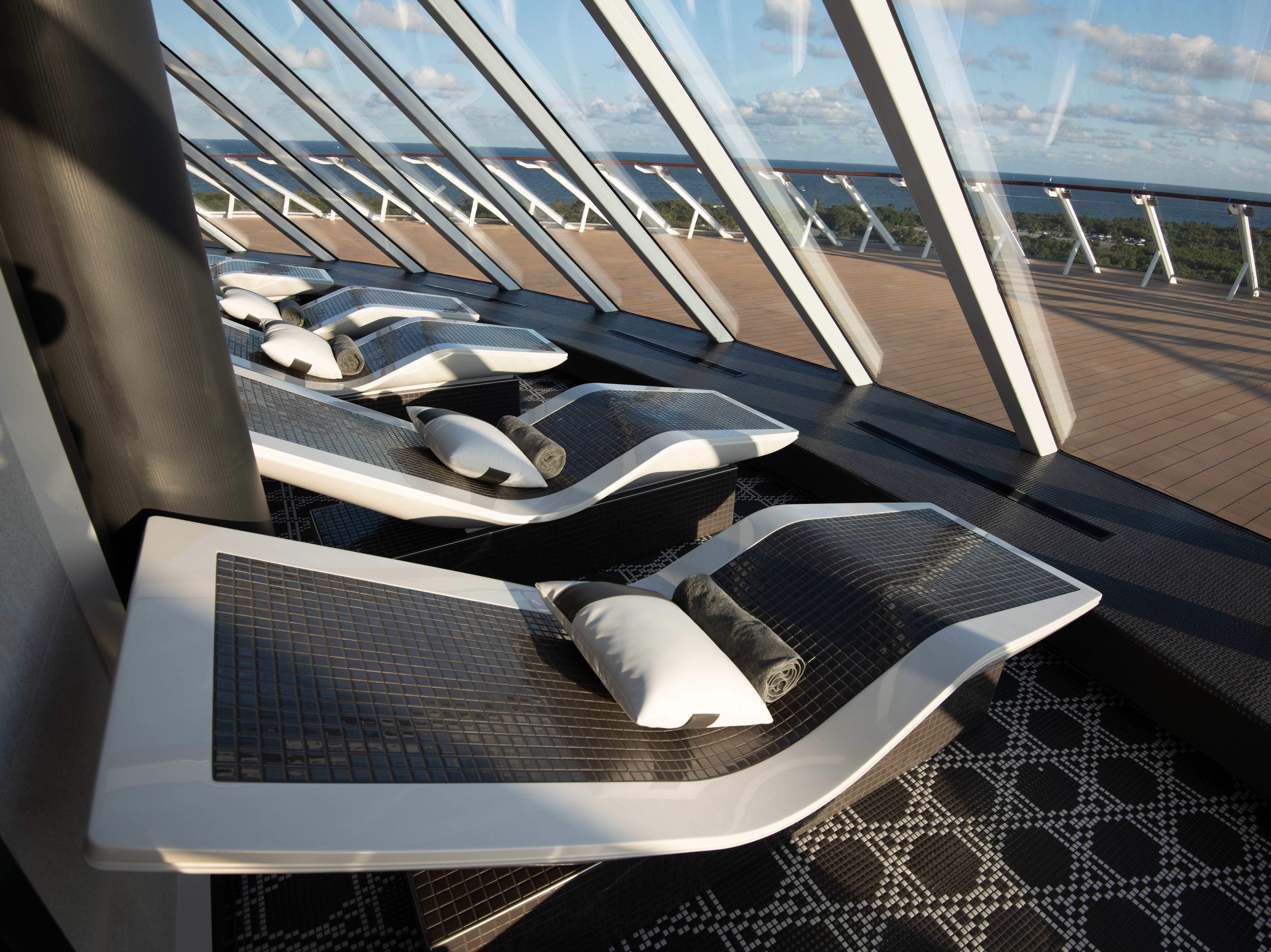 Heated lounge chairs are among the allures of the thermal area within the Celebrity Edge spa.