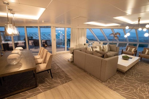 The most luxurious accommodations on Celebrity Edge are its two Iconic Suites, which are located at the top of the ship and measure more than 2,500 square feet.