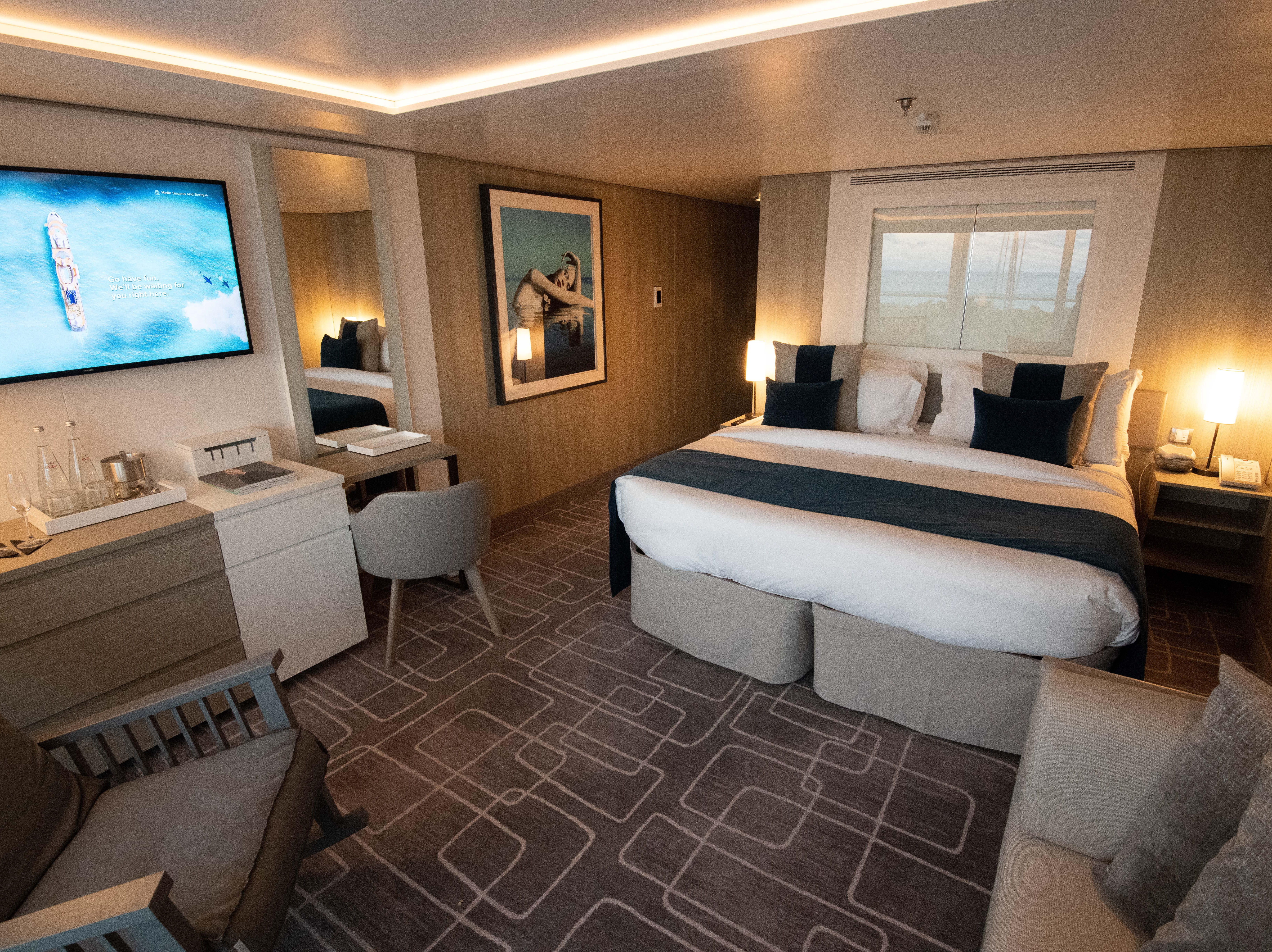 Sky Suites feature an outward-facing design with beds facing the sea.