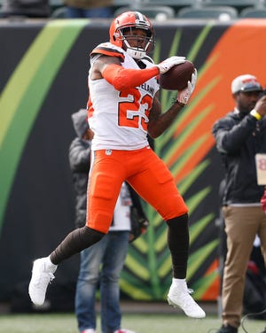 Cleveland Browns strong safety Damarious Randall runs a drill during practice before an NFL football game against the Cincinnati Bengals, Sunday, Nov. 25, 2018, in Cincinnati.