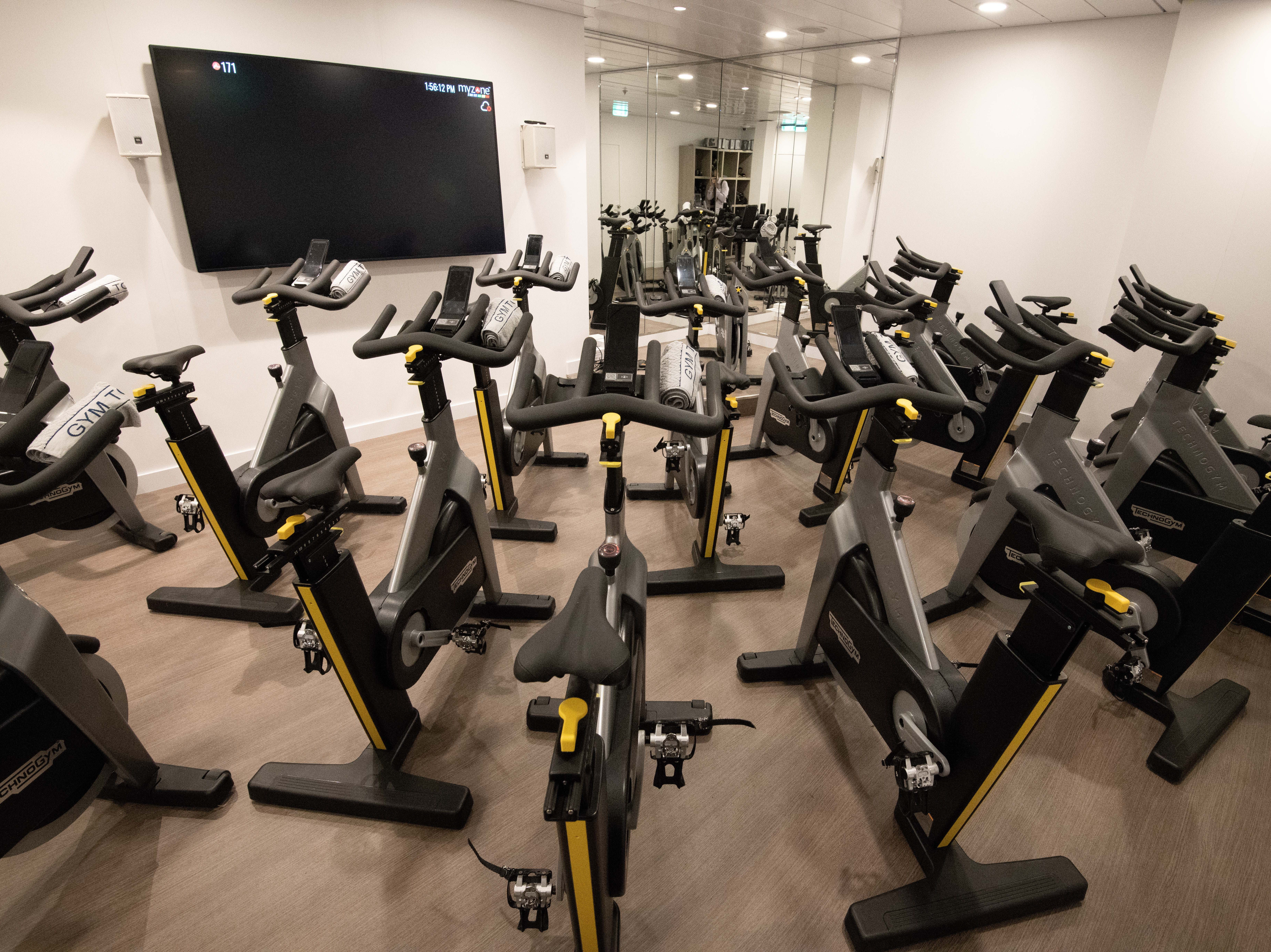 A second motion studio in the Fitness Center is set up for cycling classes.