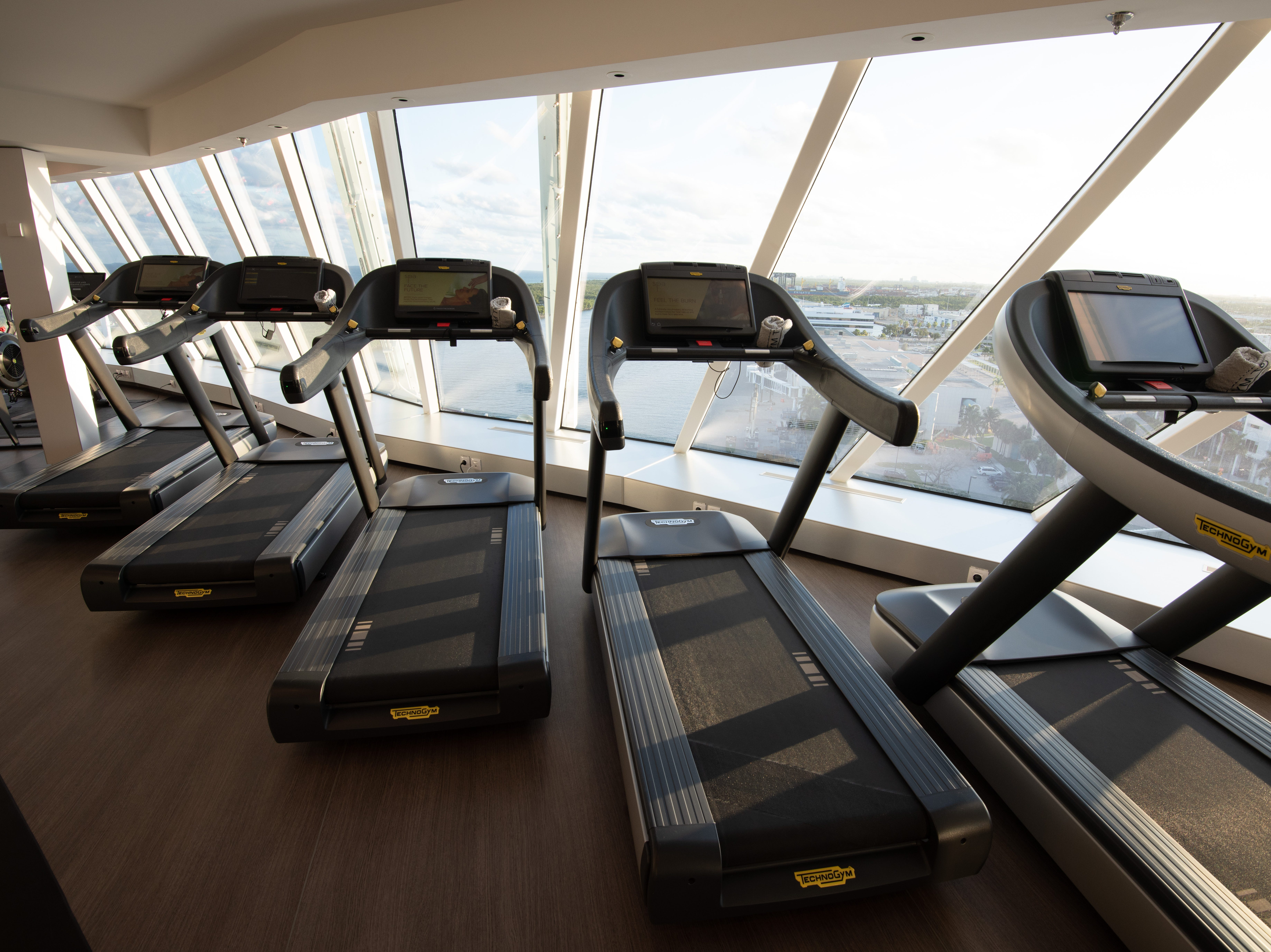 The Fitness Center on Celebrity Edge offers a wide range of cardio machines, Technogym weight machines and free weights.