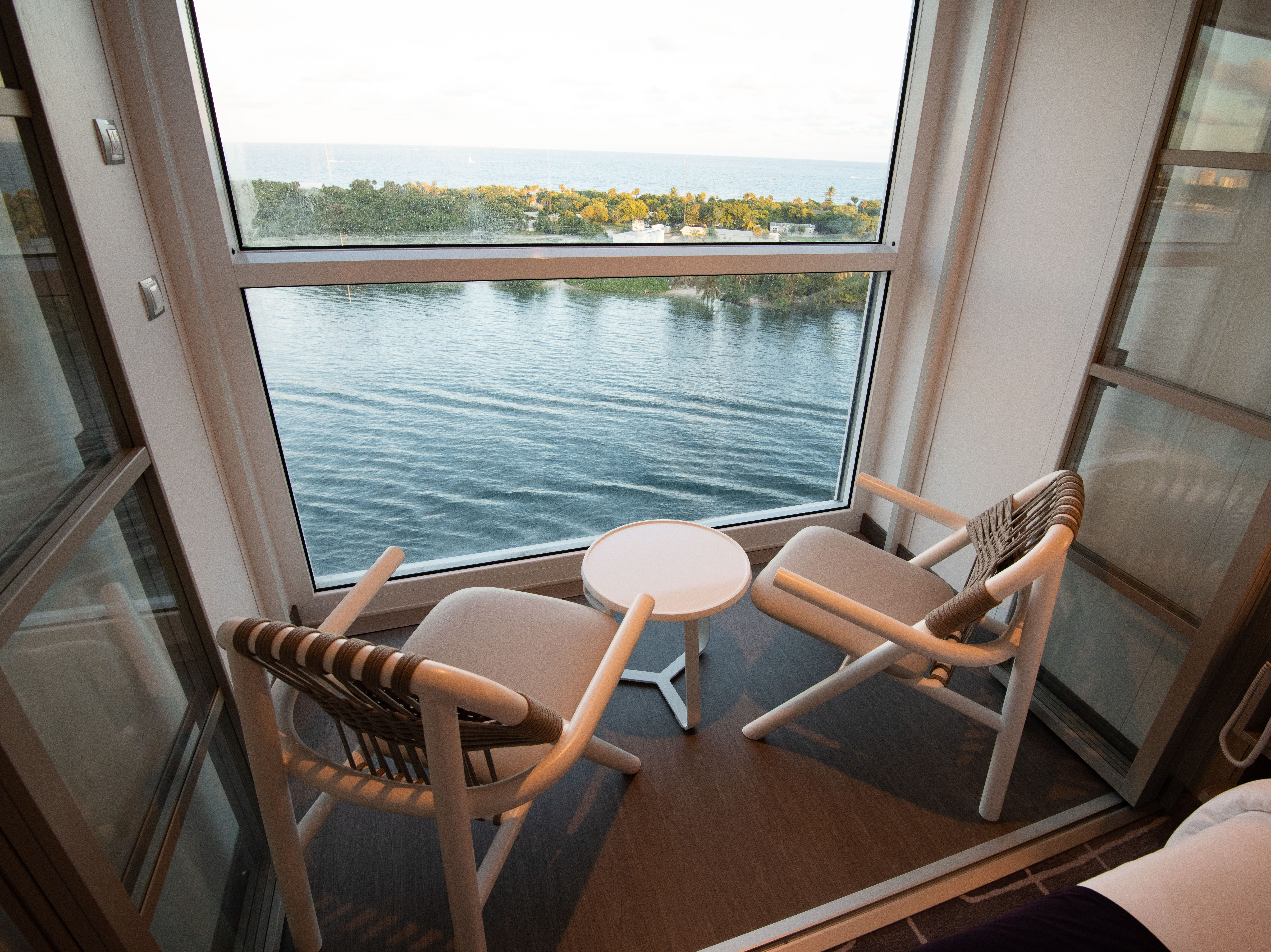 In a first for an ocean cruise ship, the Edge Stateroom with Infinite Veranda cabins have balconies that are incorporated into the main cabin area.