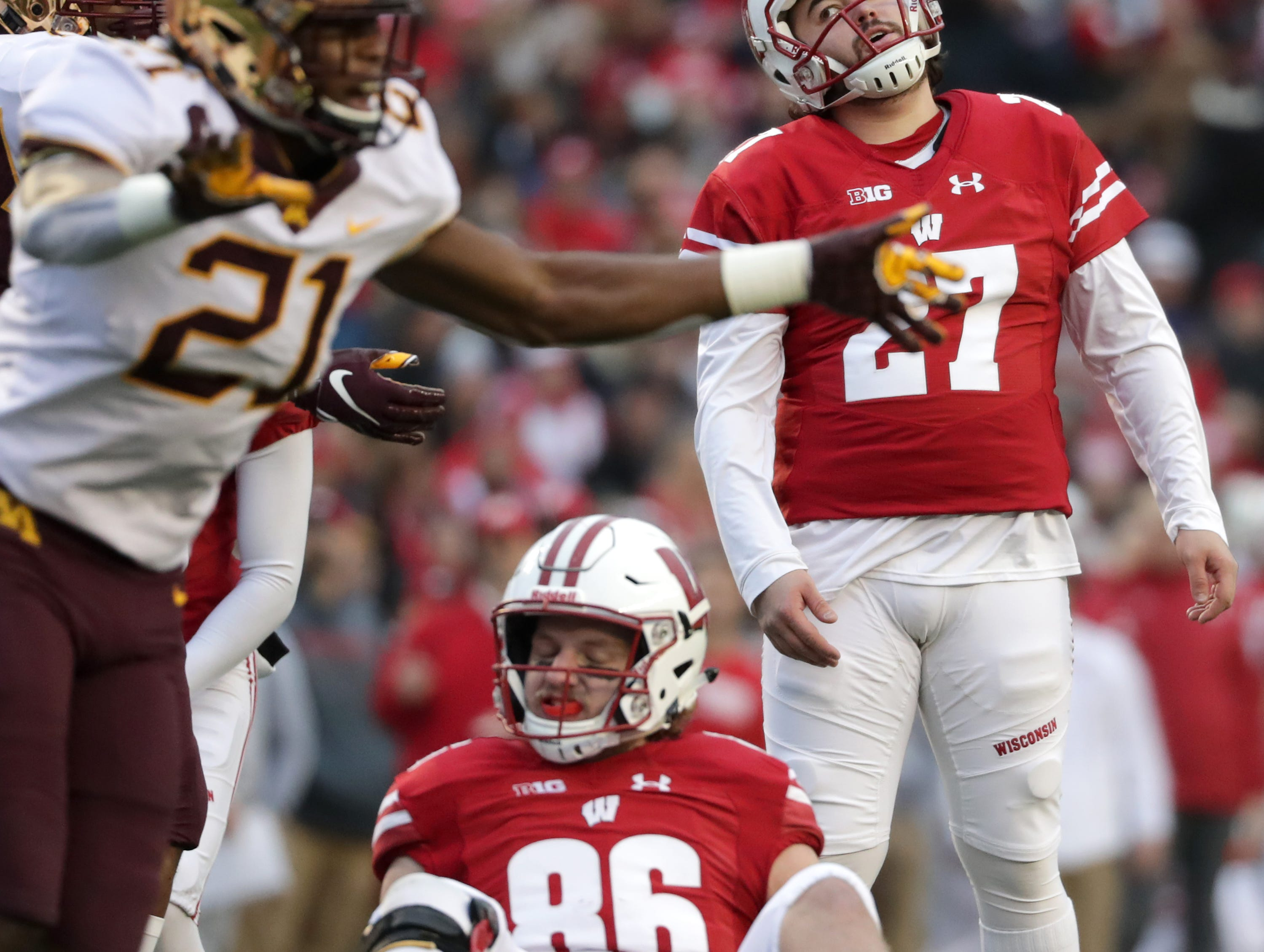 Wisconsin place kicker Rafael Gaglianone reacts after missing a first quarter field goal against the Minnesota Gopphers during their NCAA football game on Saturday, November 24, 2018, at Camp Randall in Madison, Wis.Wm. Glasheen/USA TODAY NETWORK-Wisconsin.