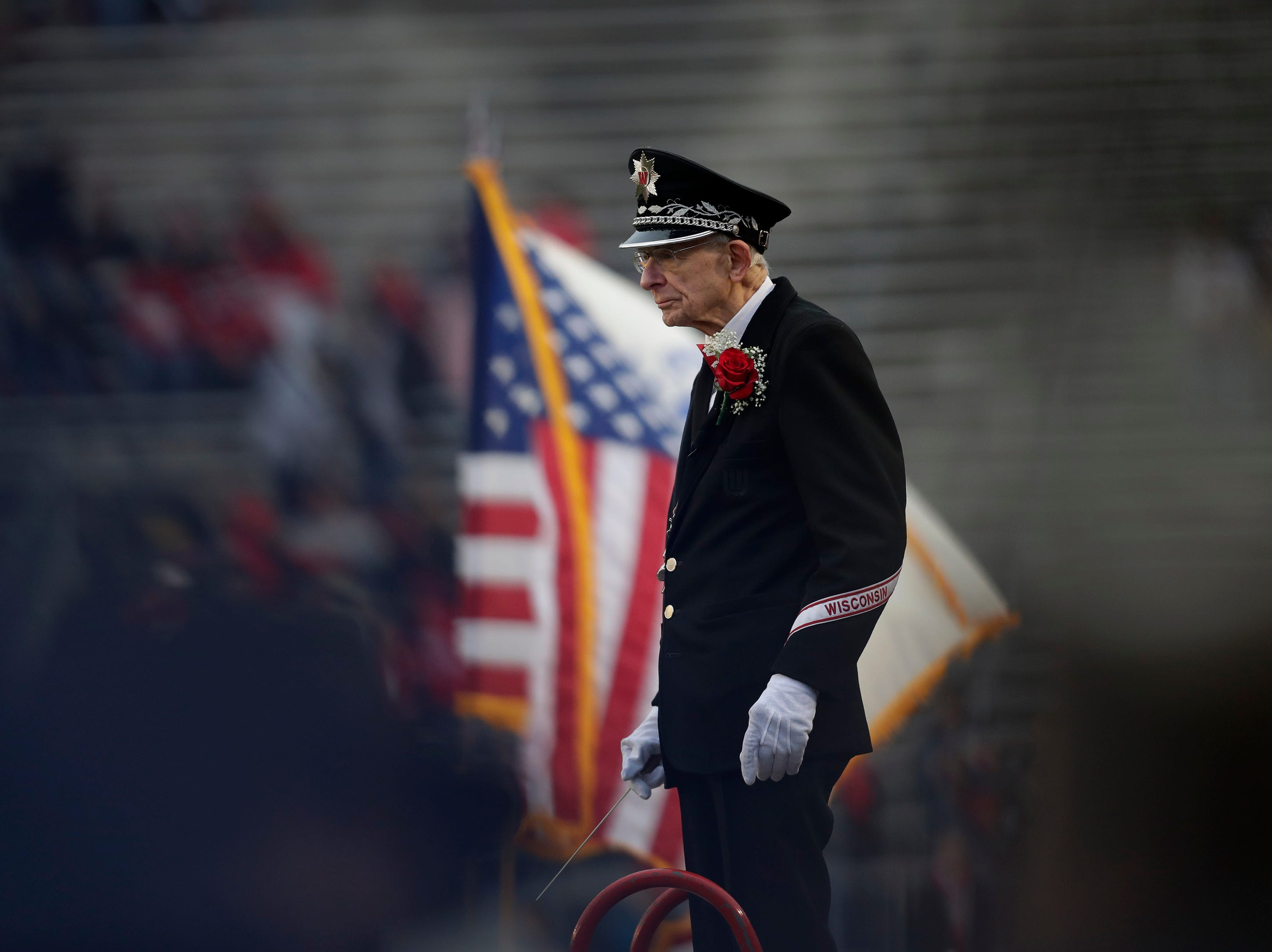 University of Wisconsin Marching Band directorMichael Leckrone leads the band prior to the start of the game against Minnesota Saturday, November 24, 2018, at Camp Randall Stadium in Madison, Wis. Dan Powers/USA TODAY NETWORK-Wisconsin