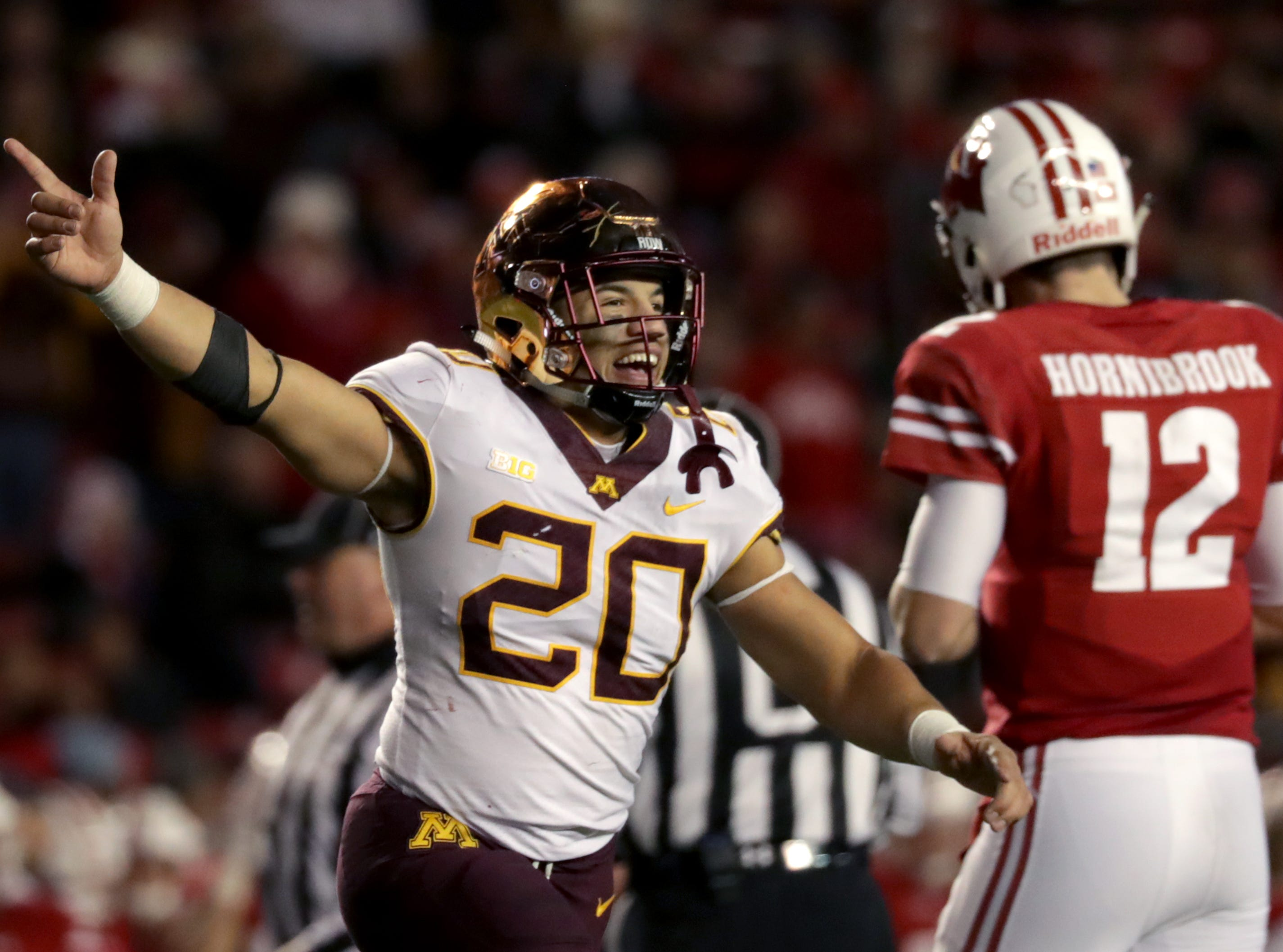 Minnesota linebacker Julian Huff celebrates after a late fourth quarter interception by Wisconsin quarterback Alex Hornibrook during their NCAA football game on Saturday, November 24, 2018, at Camp Randall in Madison, Wis.Wm. Glasheen/USA TODAY NETWORK-Wisconsin.