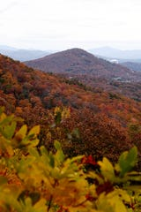 The Blue Ridge Mountains are covered in fall color along the Blue Ridge Parkway November 4, 2018.