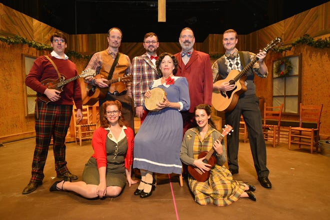 """The cast of """"Smoke on the Mountain: Sanders Family Christmas"""" onstage at SART in Mars Hill. The second annual production has been revamped with new music and humor since 2017."""