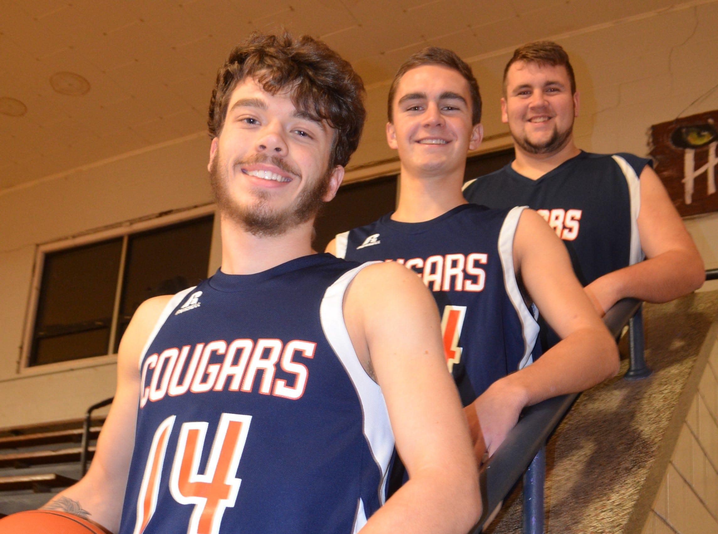 The returning leaders for the 2018-19 Calhoun Christian boys basketball team include, from left, Ethan Reed, Alex Wilcox and Samuel Bennett