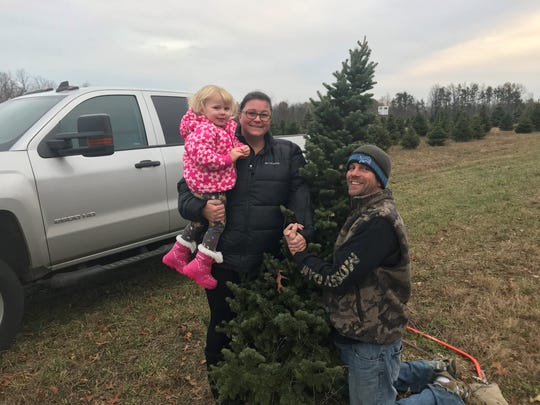 DarShan and Richard Goodman took their daughter, Naomi, 2, to pick out a tree at Wilson's Tannenbaum Farm on Black Friday.