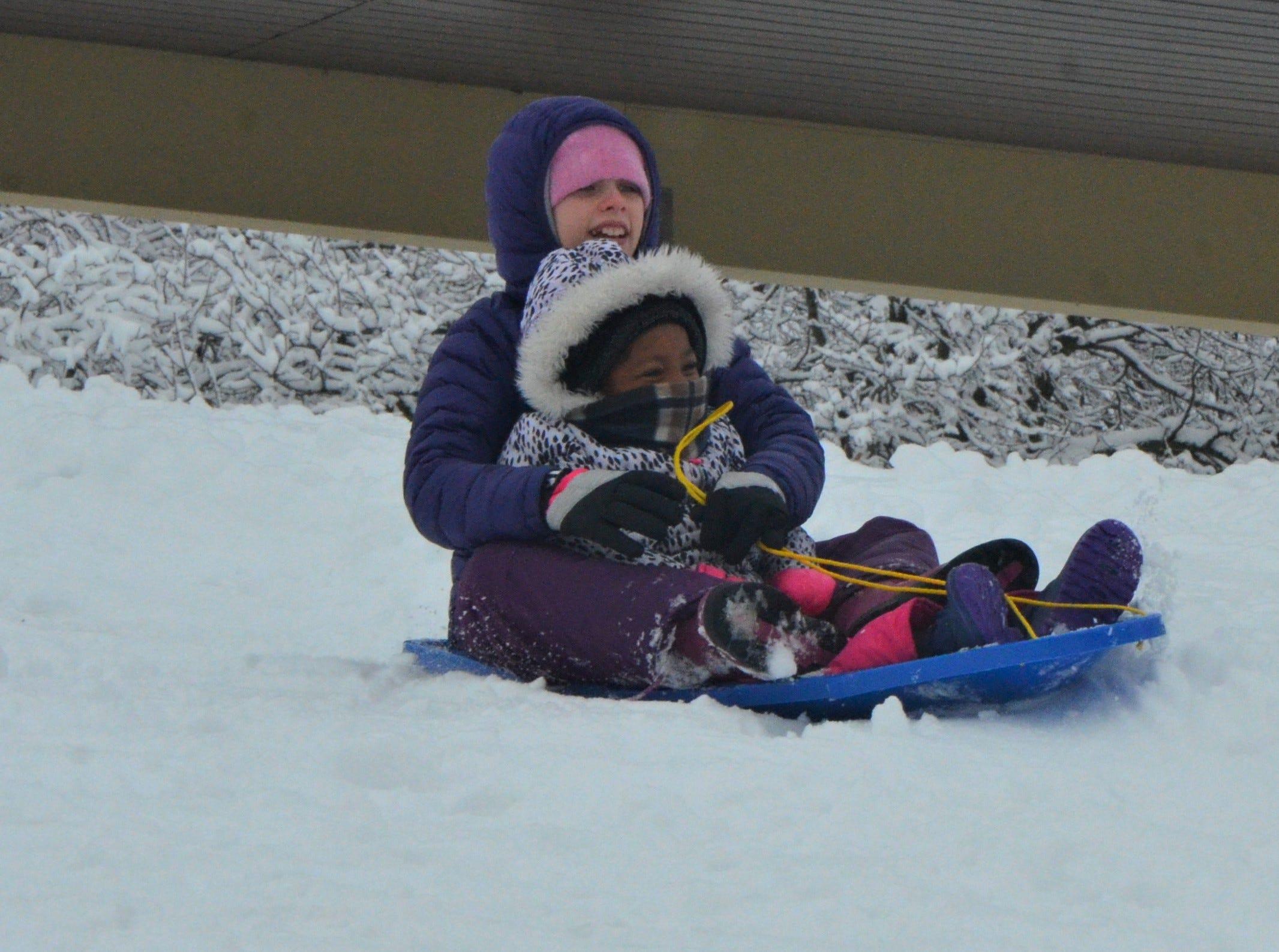 Evey Camburn, 11, and Nadia Craft, 4, slide down a hill at Leila Arboretum on Monday, November 26, 2018.