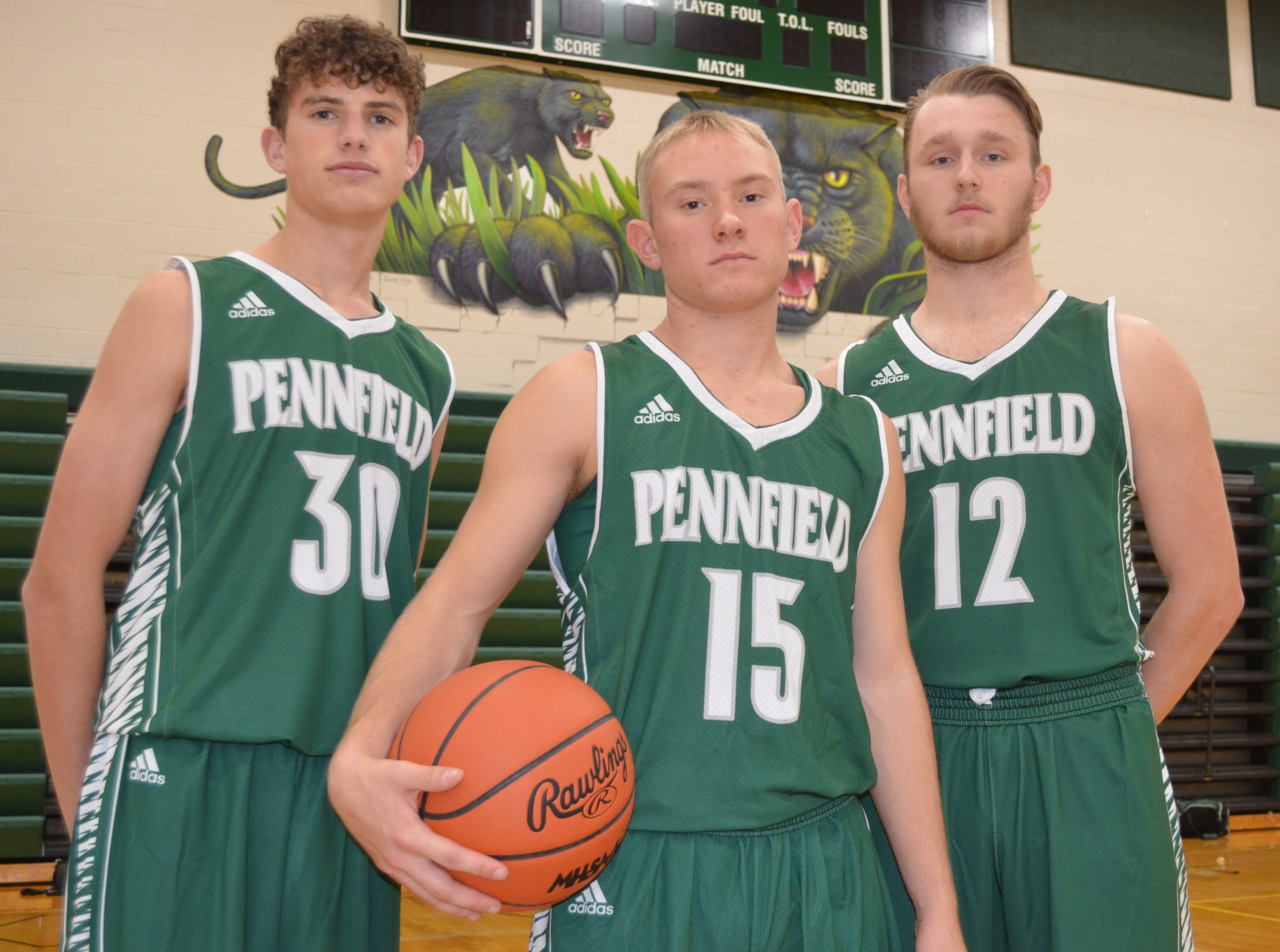 The returner leaders for the 2018-19 Pennfield boys basketball team include, from left, Kyle Liggett, Keagan Burns and Ryan Vought.