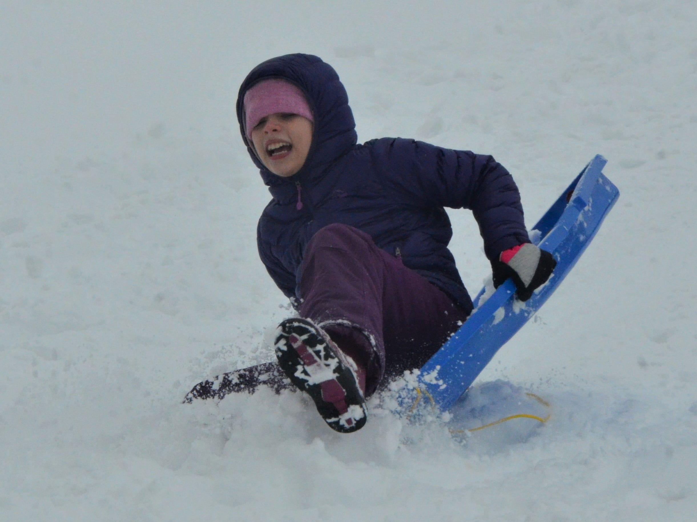 Evey Camburn, 11, wipes out while sledding at Leila Arboretum on Monday, November 26, 2018.