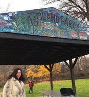 Emily Jablon stands below her latest mosaic in Boland Park in Johnson City.