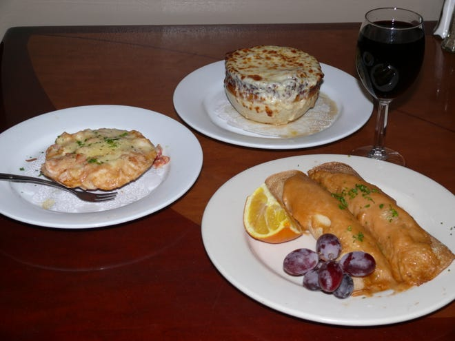 Chez Maxime in Titusville satisfies with seafood crepes, seafood casserole and the French onion soup.